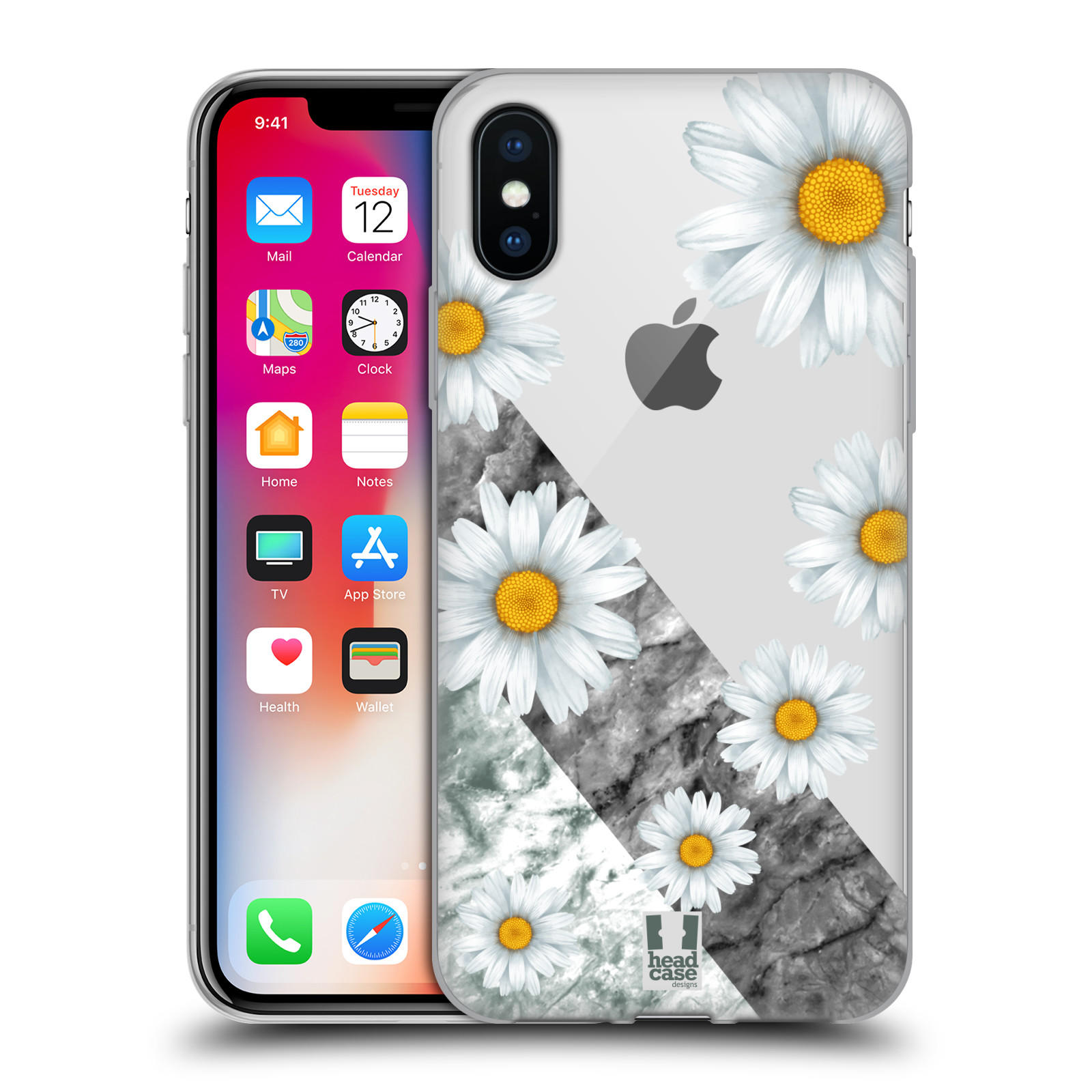 Silikonové pouzdro na mobil Apple iPhone X- Head Case - Kopretiny a mramor