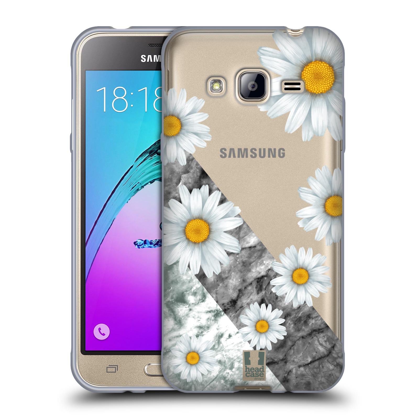Silikonové pouzdro na mobil Samsung Galaxy J3 (2016) - Head Case - Kopretiny a mramor