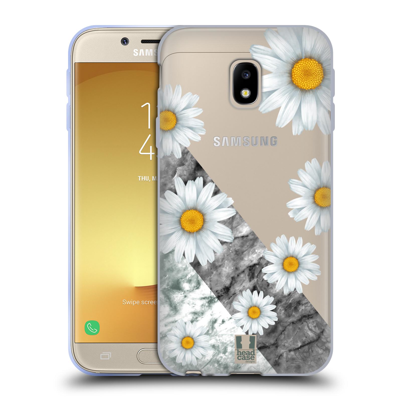 Silikonové pouzdro na mobil Samsung Galaxy J3 (2017) - Head Case - Kopretiny a mramor