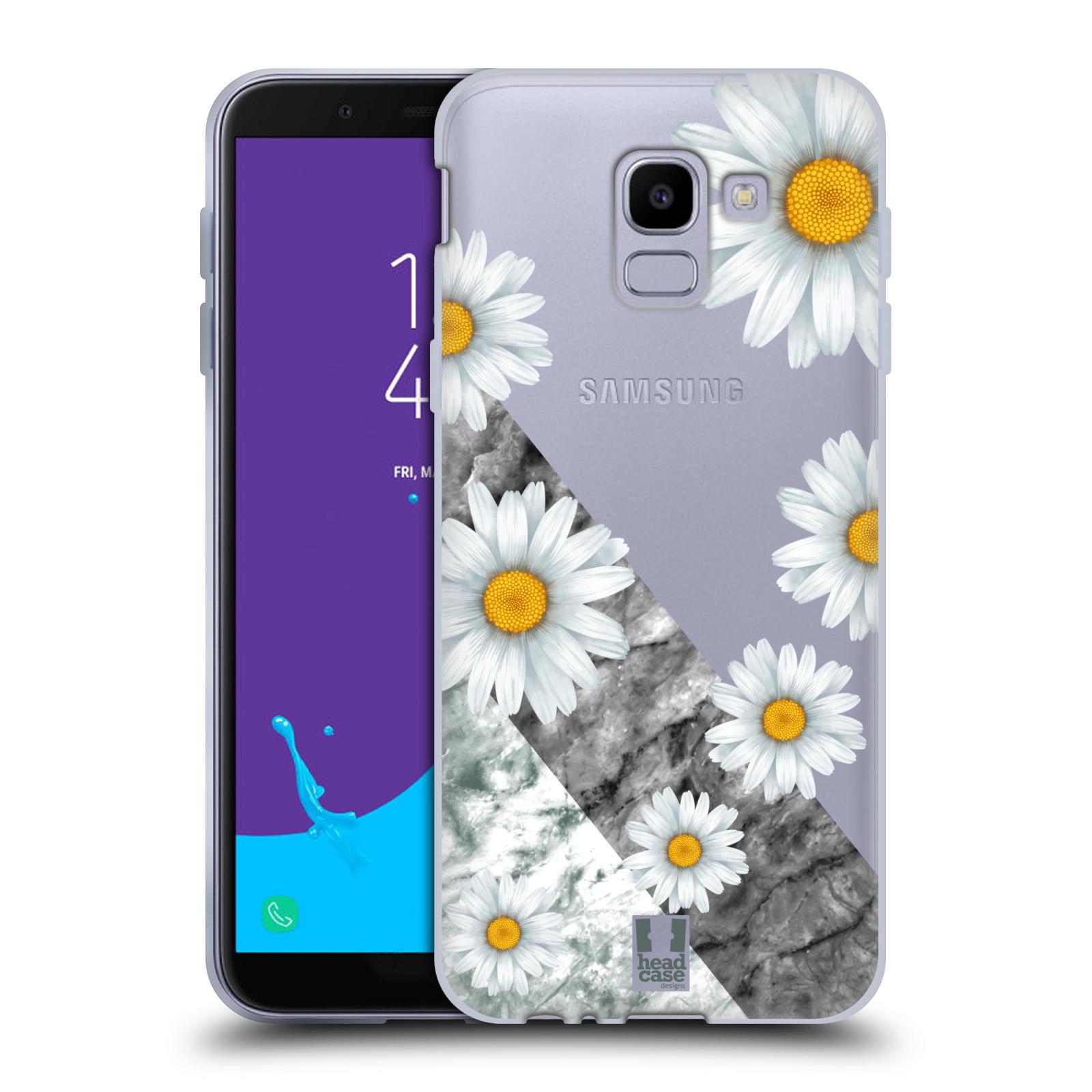 Silikonové pouzdro na mobil Samsung Galaxy J6 (2018) - Head Case - Kopretiny a mramor