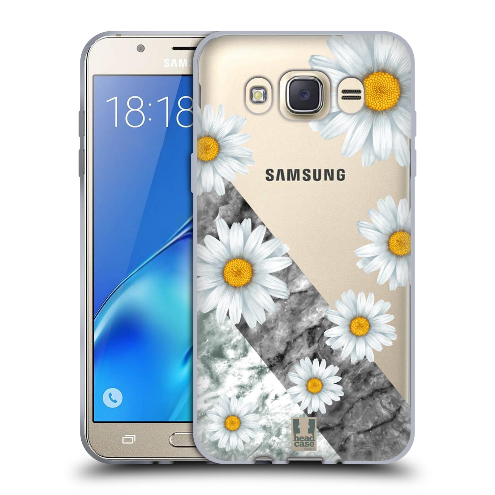 Silikonové pouzdro na mobil Samsung Galaxy J7 (2016) - Head Case - Kopretiny a mramor