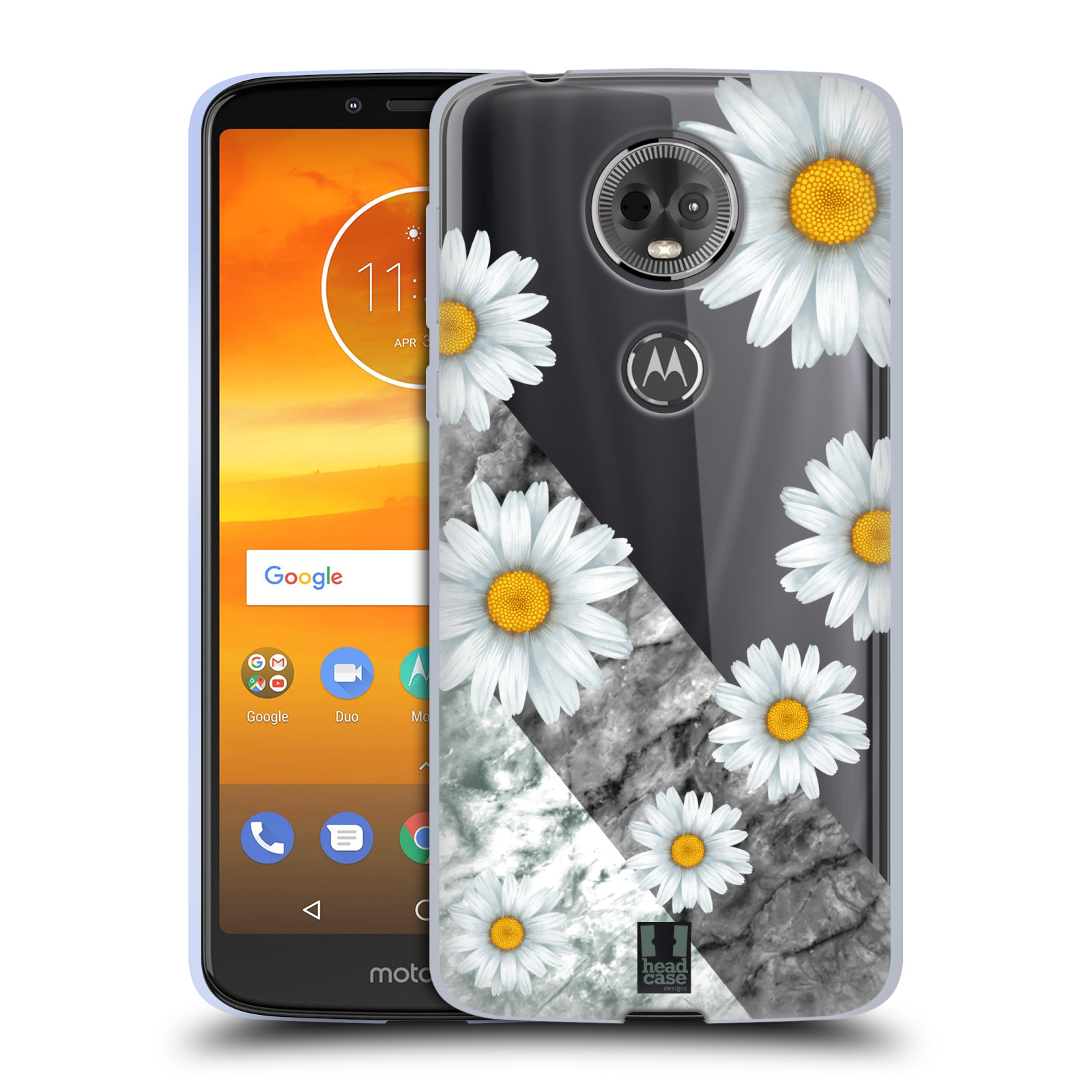 Silikonové pouzdro na mobil Motorola Moto E5 Plus - Head Case - Kopretiny a mramor
