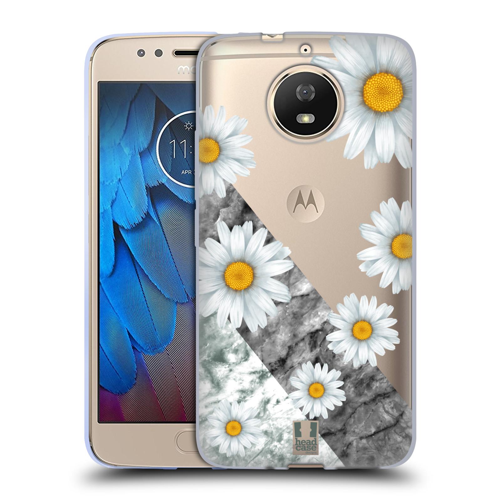 Silikonové pouzdro na mobil Lenovo Moto G5s - Head Case - Kopretiny a mramor