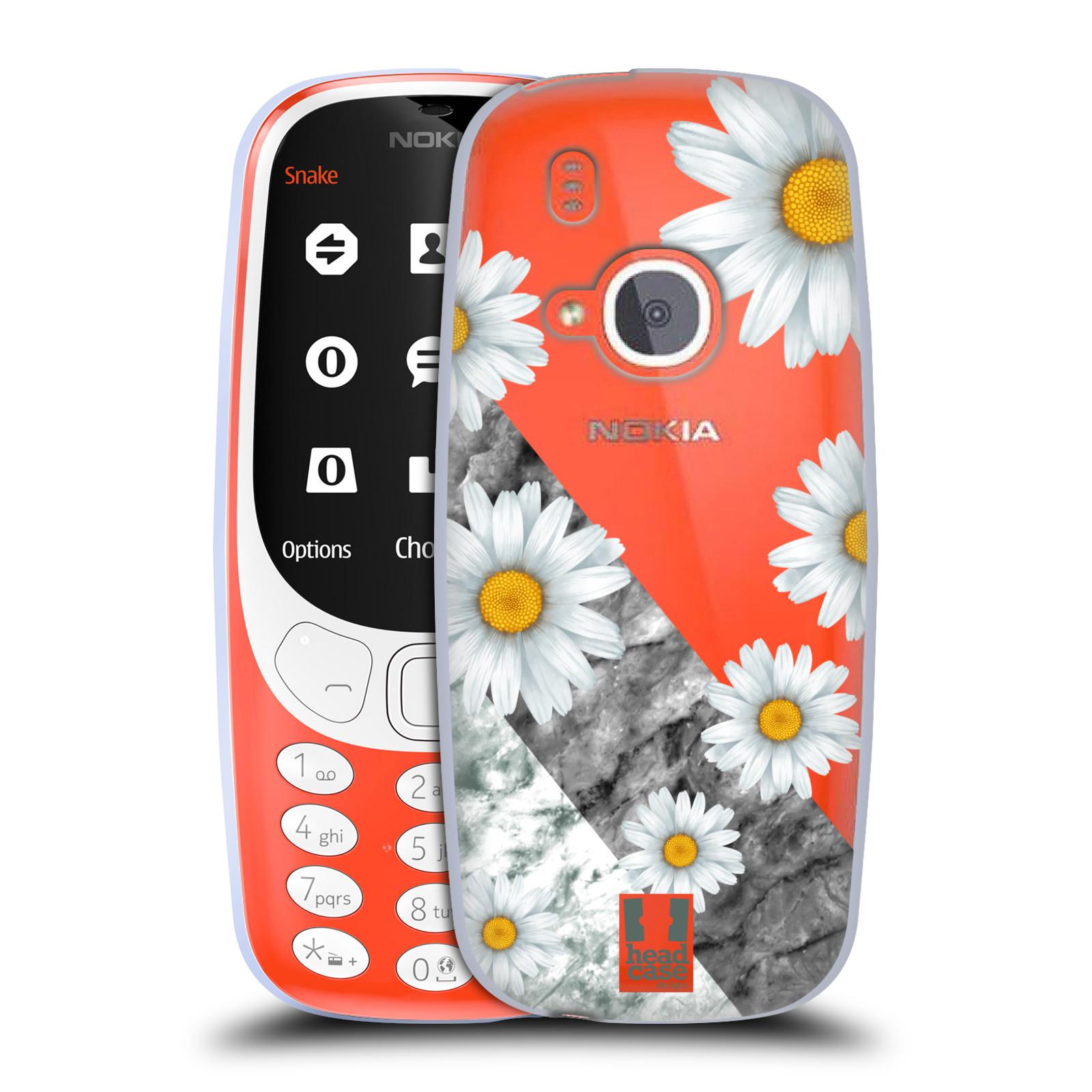 Silikonové pouzdro na mobil Nokia 3310 - Head Case - Kopretiny a mramor