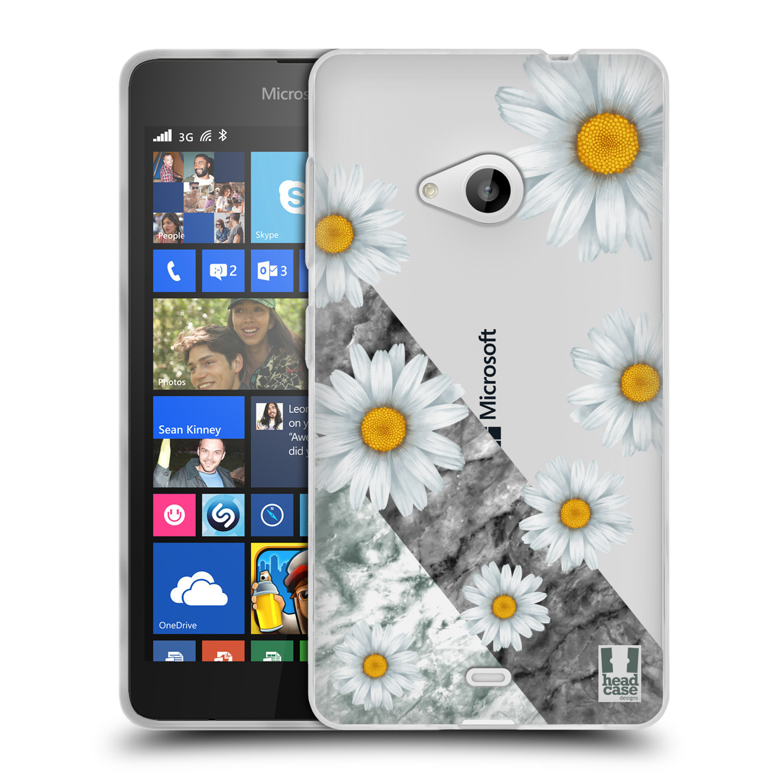 Silikonové pouzdro na mobil Microsoft Lumia 535 - Head Case - Kopretiny a mramor