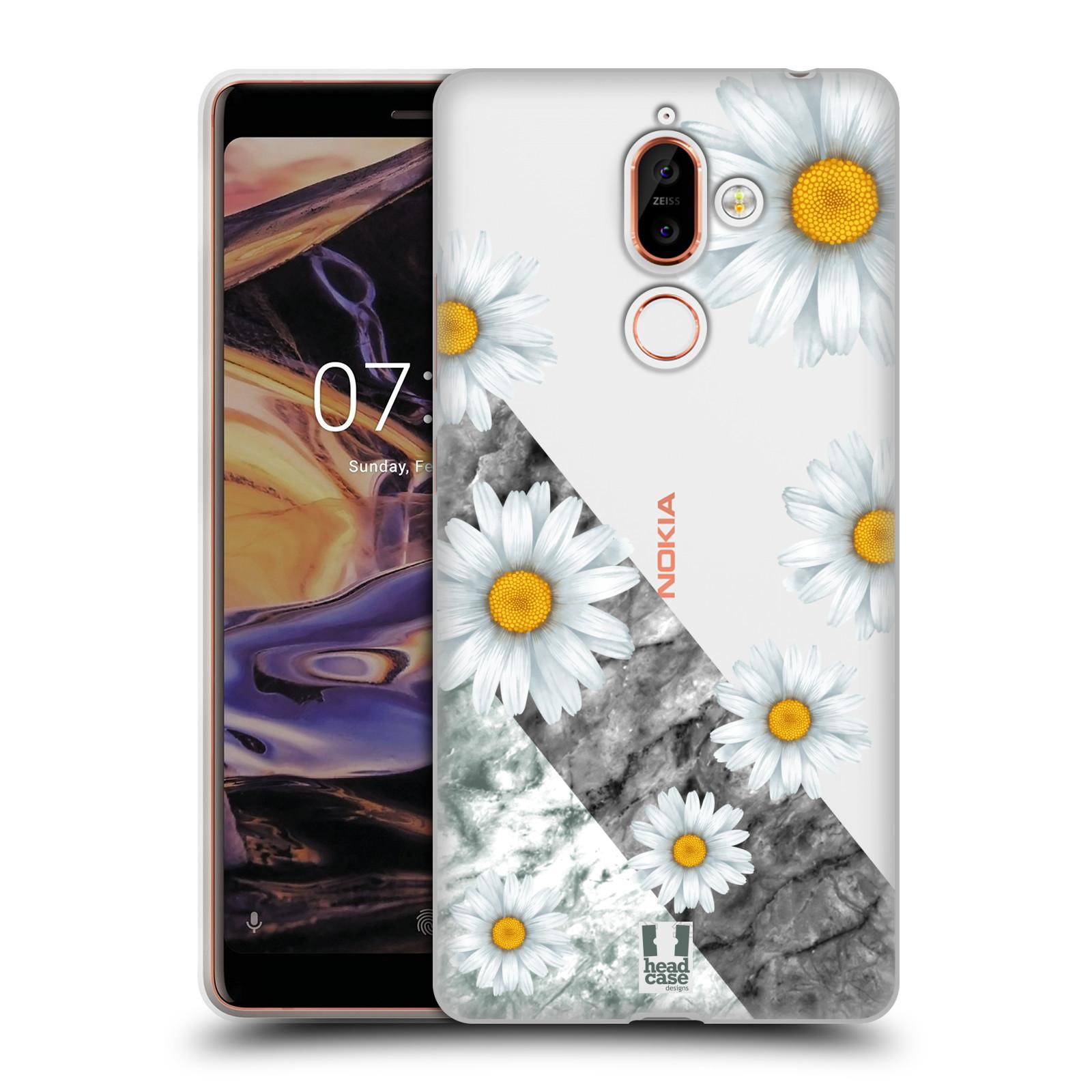 Silikonové pouzdro na mobil Nokia 7 Plus - Head Case - Kopretiny a mramor