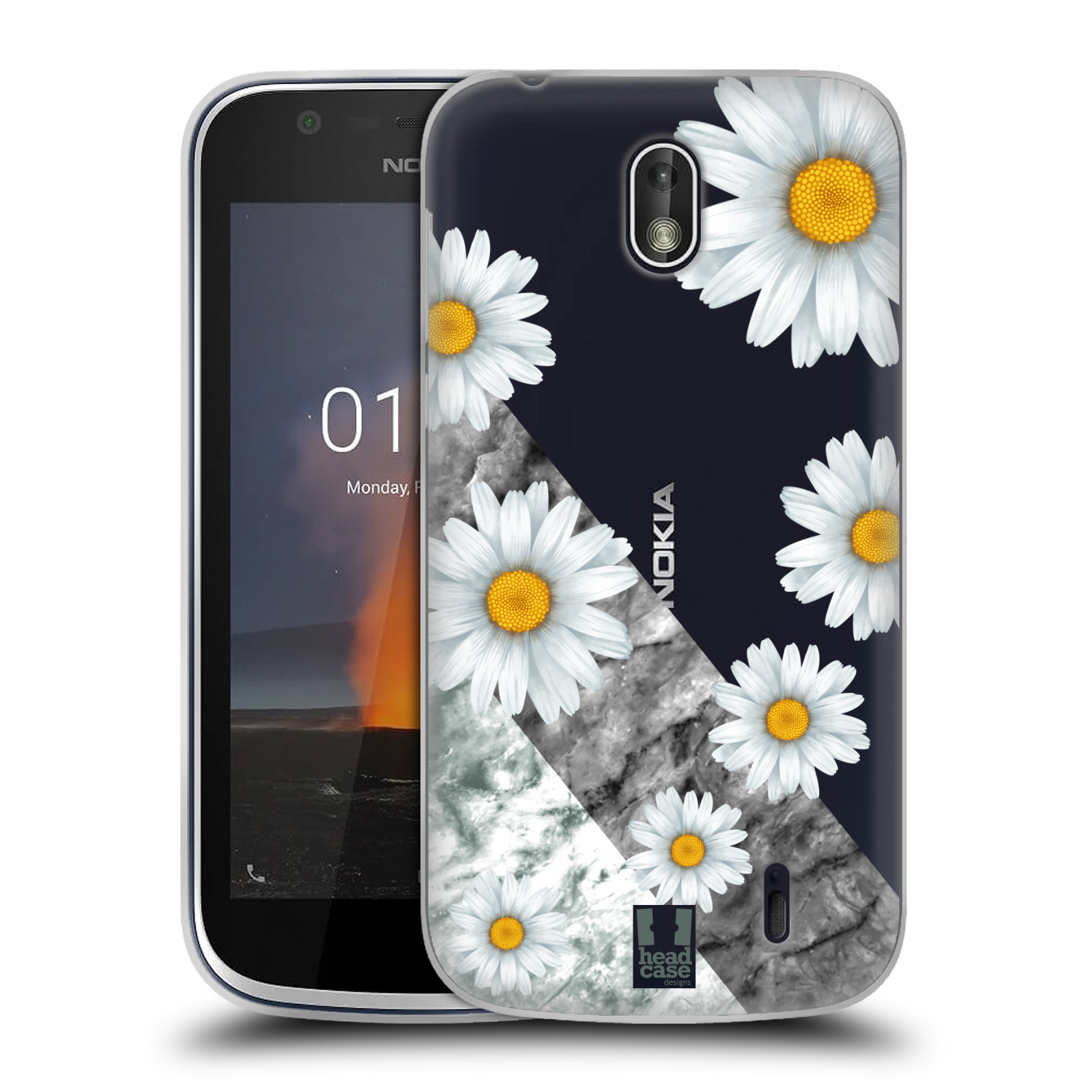 Silikonové pouzdro na mobil Nokia 1 - Head Case - Kopretiny a mramor