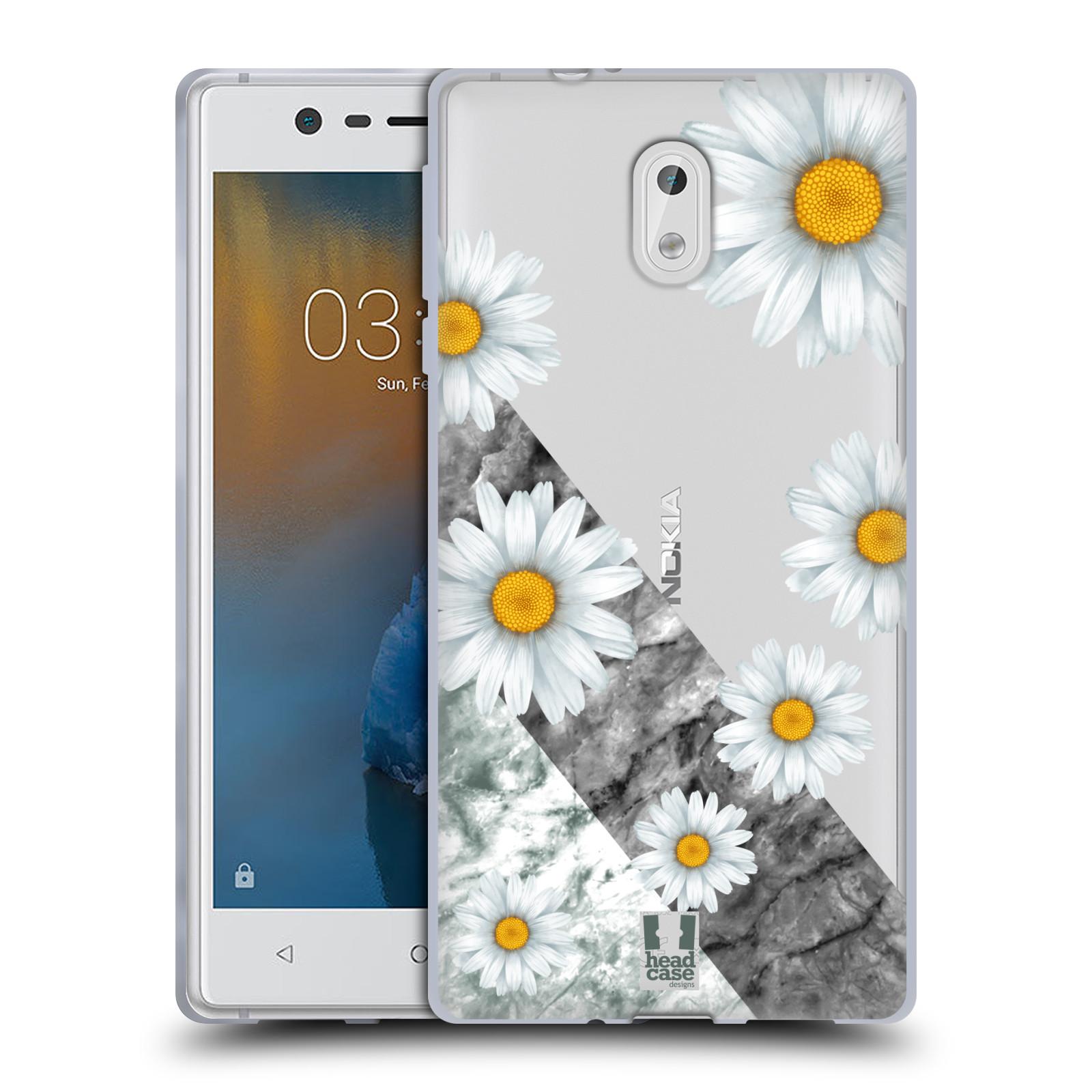 Silikonové pouzdro na mobil Nokia 3 Head Case - Kopretiny a mramor