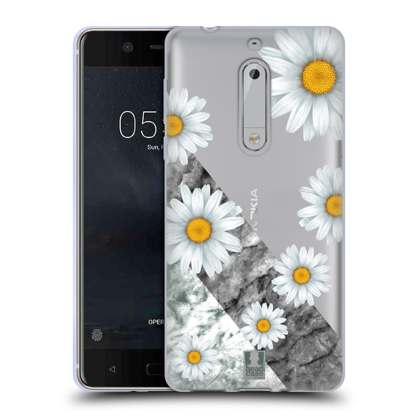 Silikonové pouzdro na mobil Nokia 5 Head Case - Kopretiny a mramor