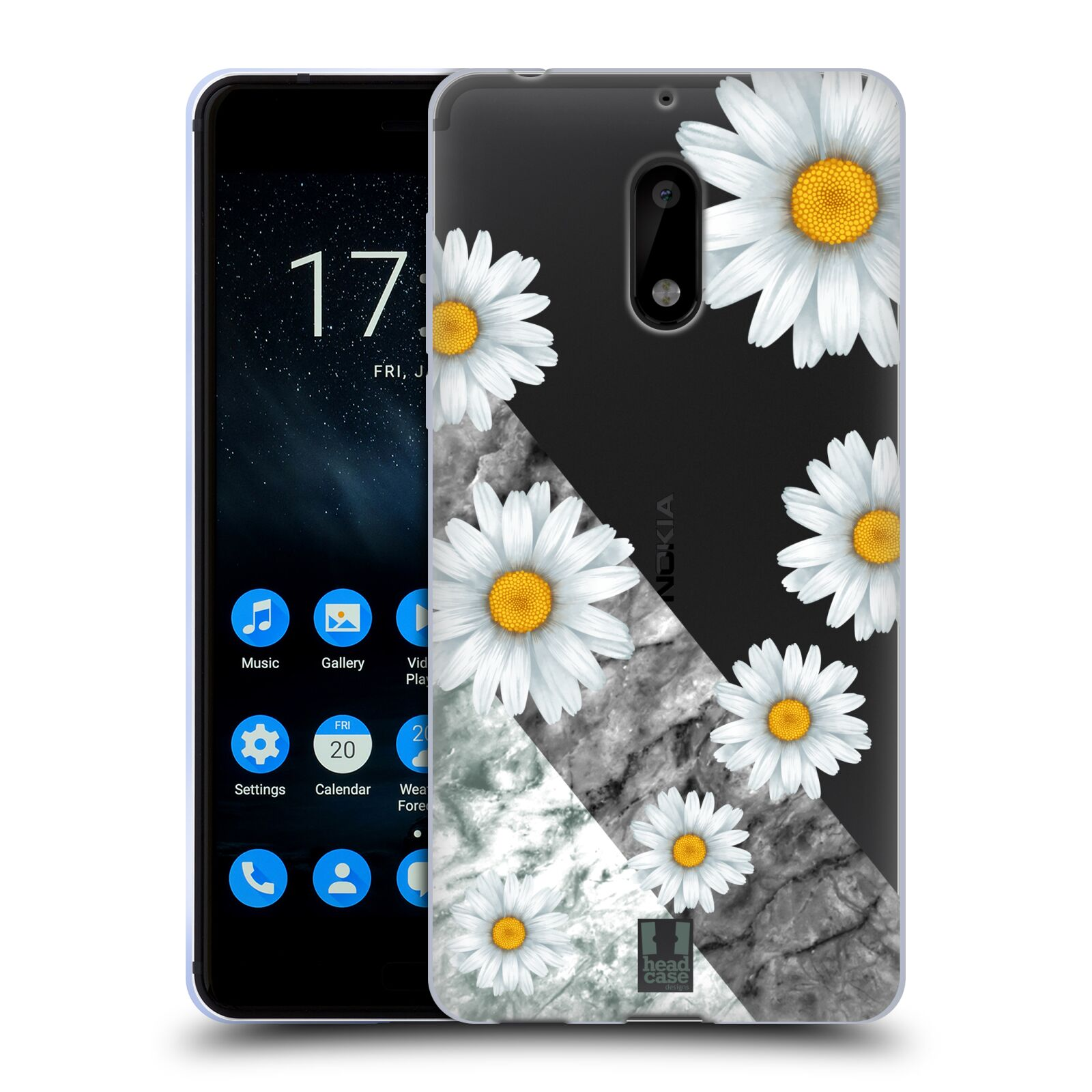 Silikonové pouzdro na mobil Nokia 6 - Head Case - Kopretiny a mramor