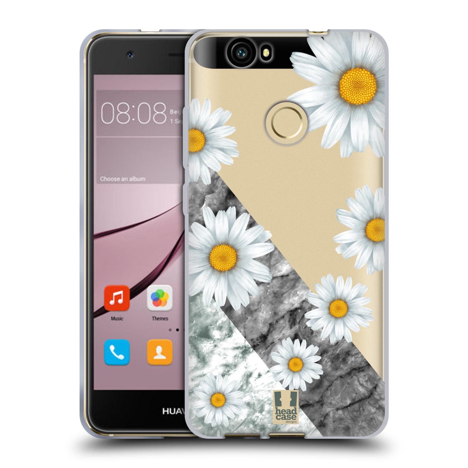 Silikonové pouzdro na mobil Huawei Nova - Head Case - Kopretiny a mramor