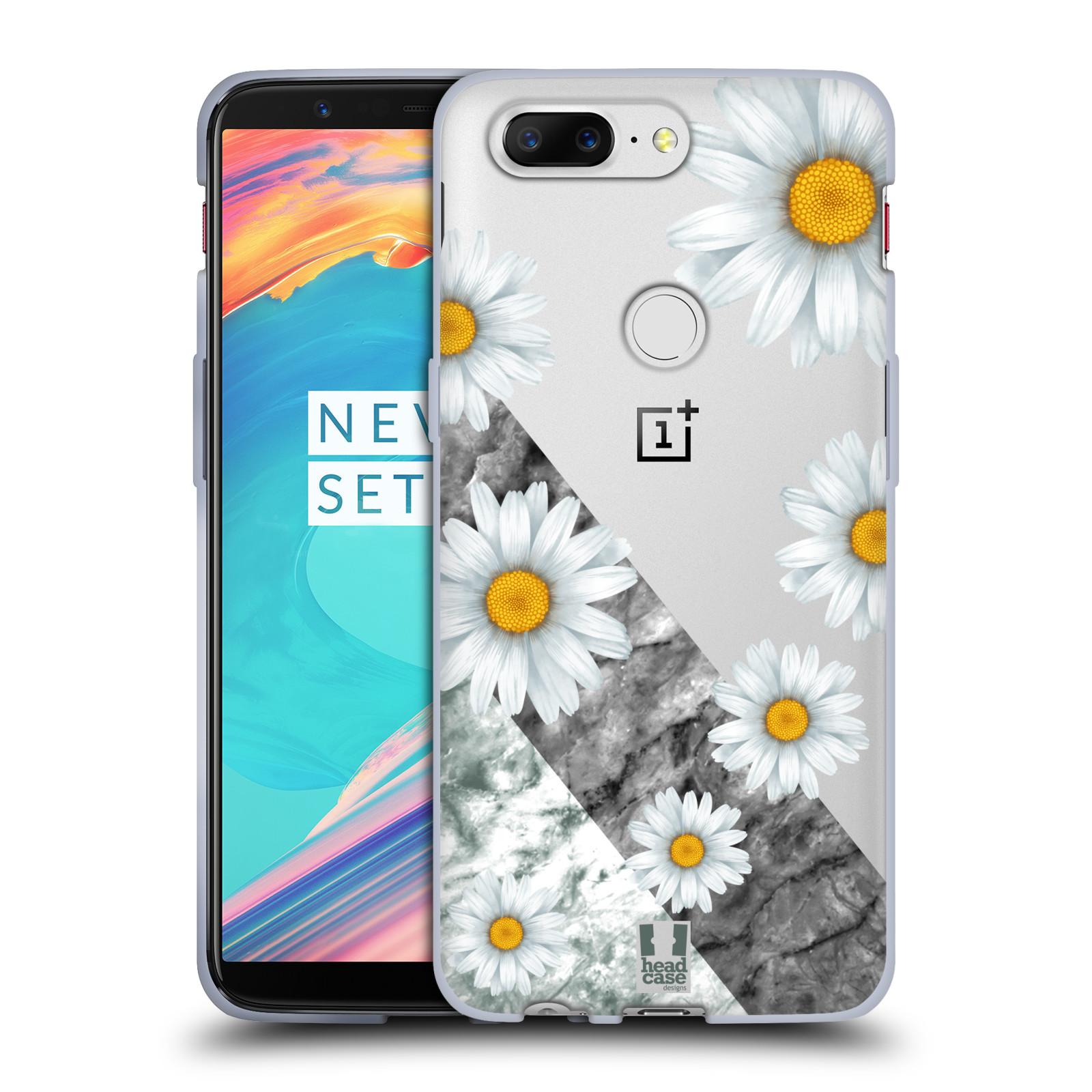 Silikonové pouzdro na mobil OnePlus 5T - Head Case - Kopretiny a mramor