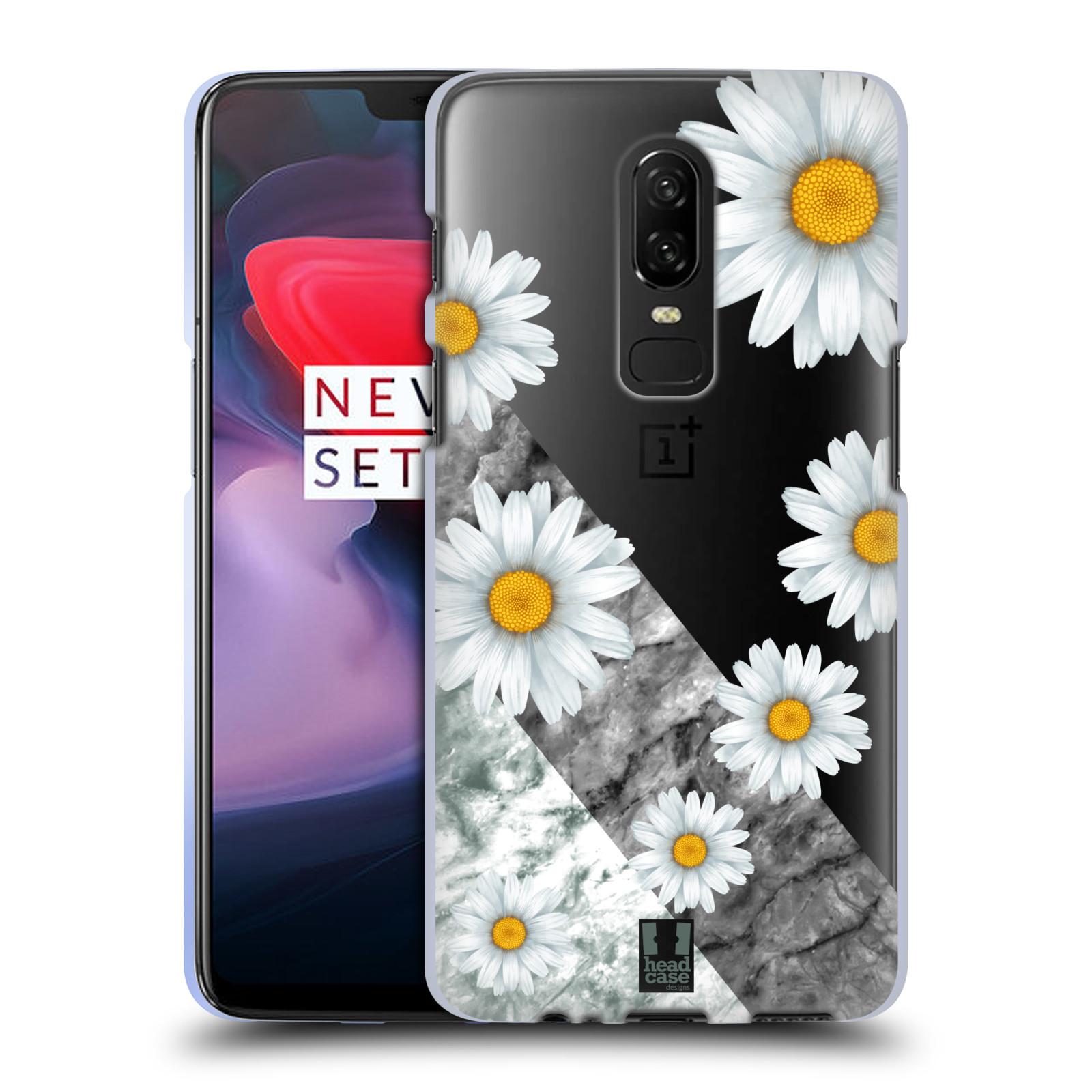 Silikonové pouzdro na mobil OnePlus 6 - Head Case - Kopretiny a mramor
