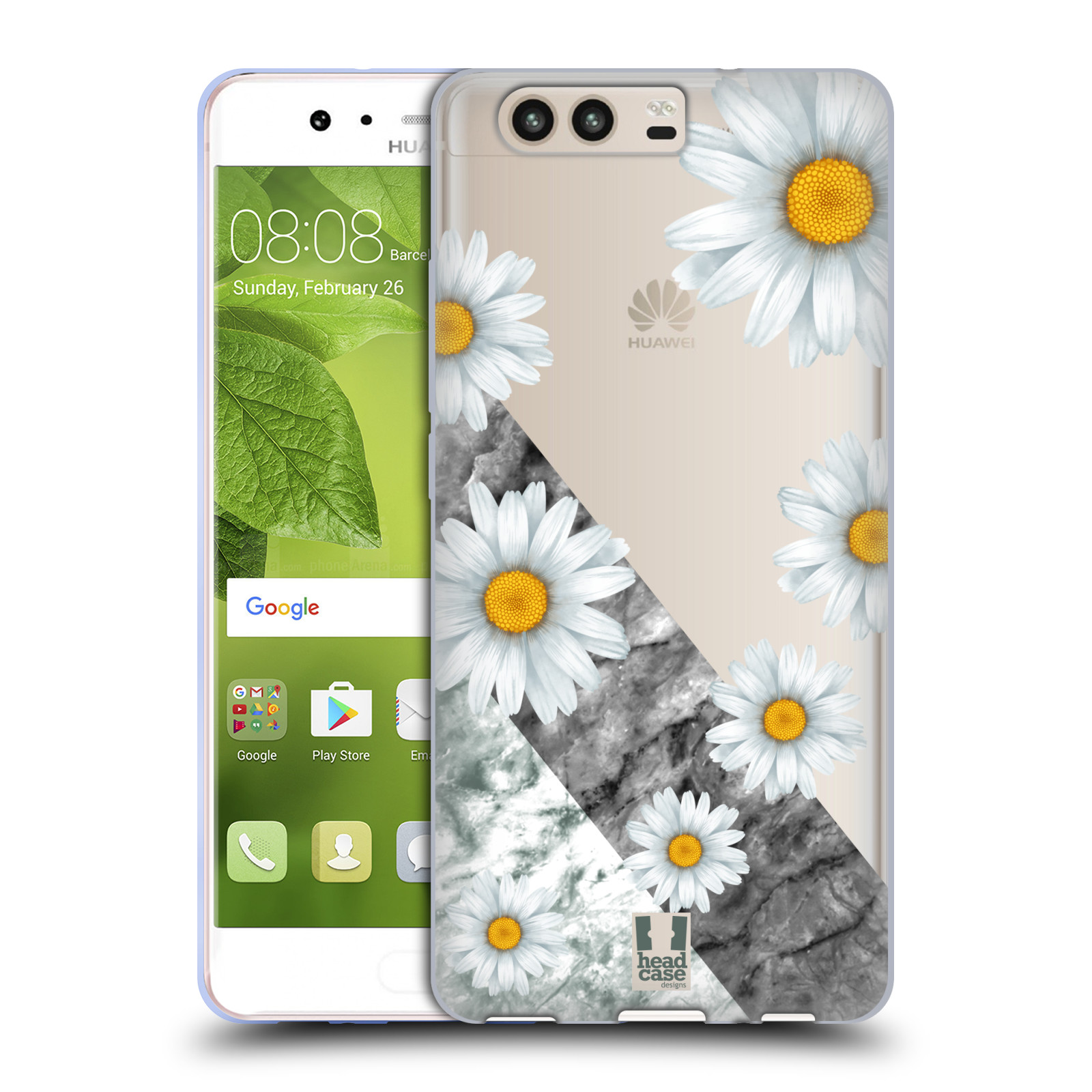 Silikonové pouzdro na mobil Huawei P10 - Head Case - Kopretiny a mramor