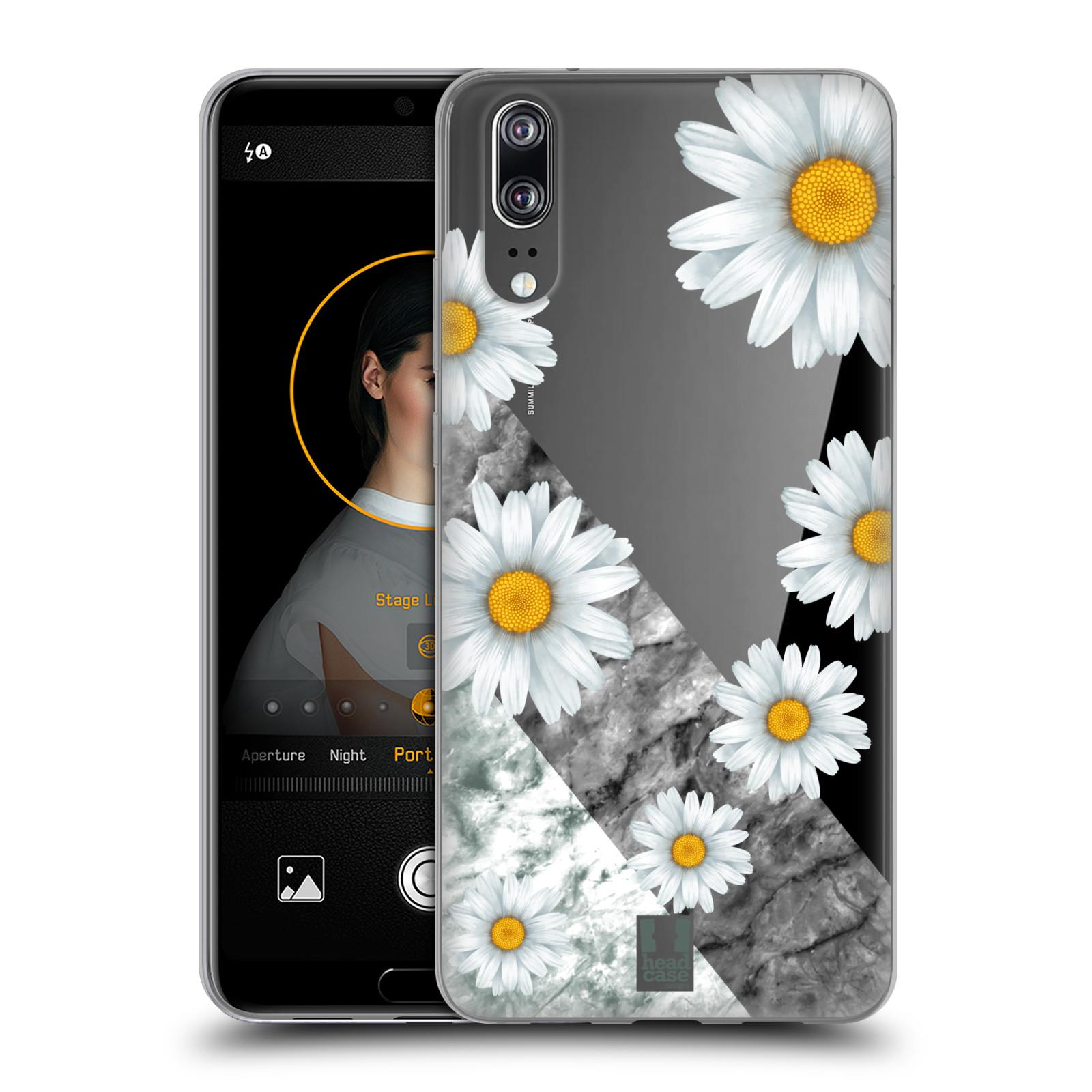 Silikonové pouzdro na mobil Huawei P20 - Head Case - Kopretiny a mramor