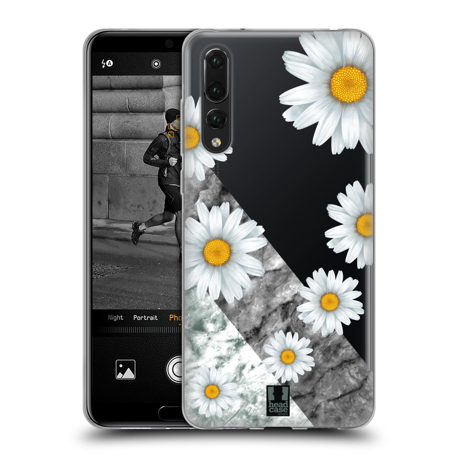 Silikonové pouzdro na mobil Huawei P20 Pro - Head Case - Kopretiny a mramor
