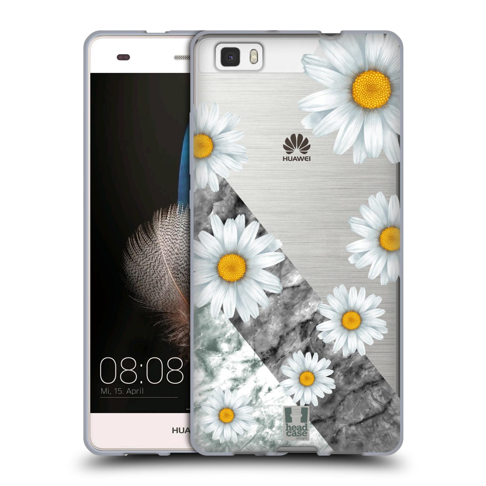 Silikonové pouzdro na mobil Huawei P8 Lite - Head Case - Kopretiny a mramor