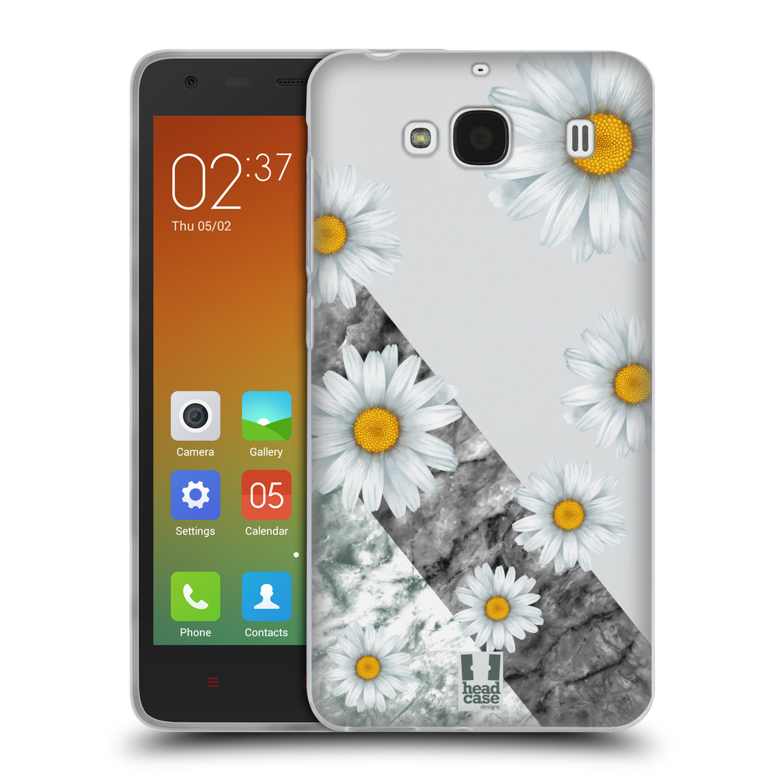 Silikonové pouzdro na mobil Xiaomi Redmi 2 - Head Case - Kopretiny a mramor