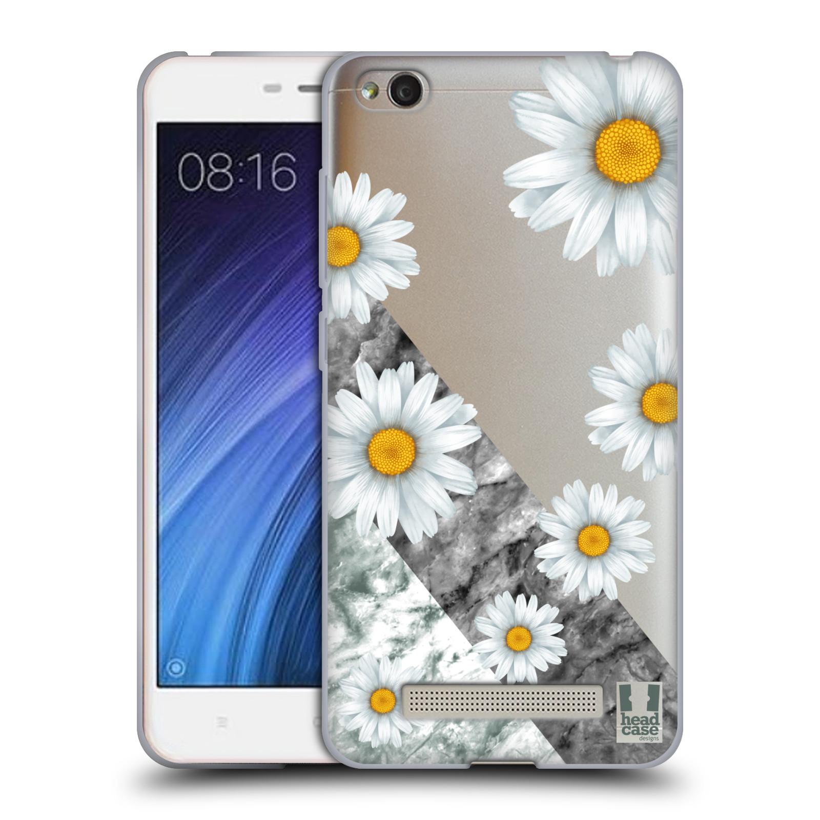 Silikonové pouzdro na mobil Xiaomi Redmi 4A - Head Case - Kopretiny a mramor
