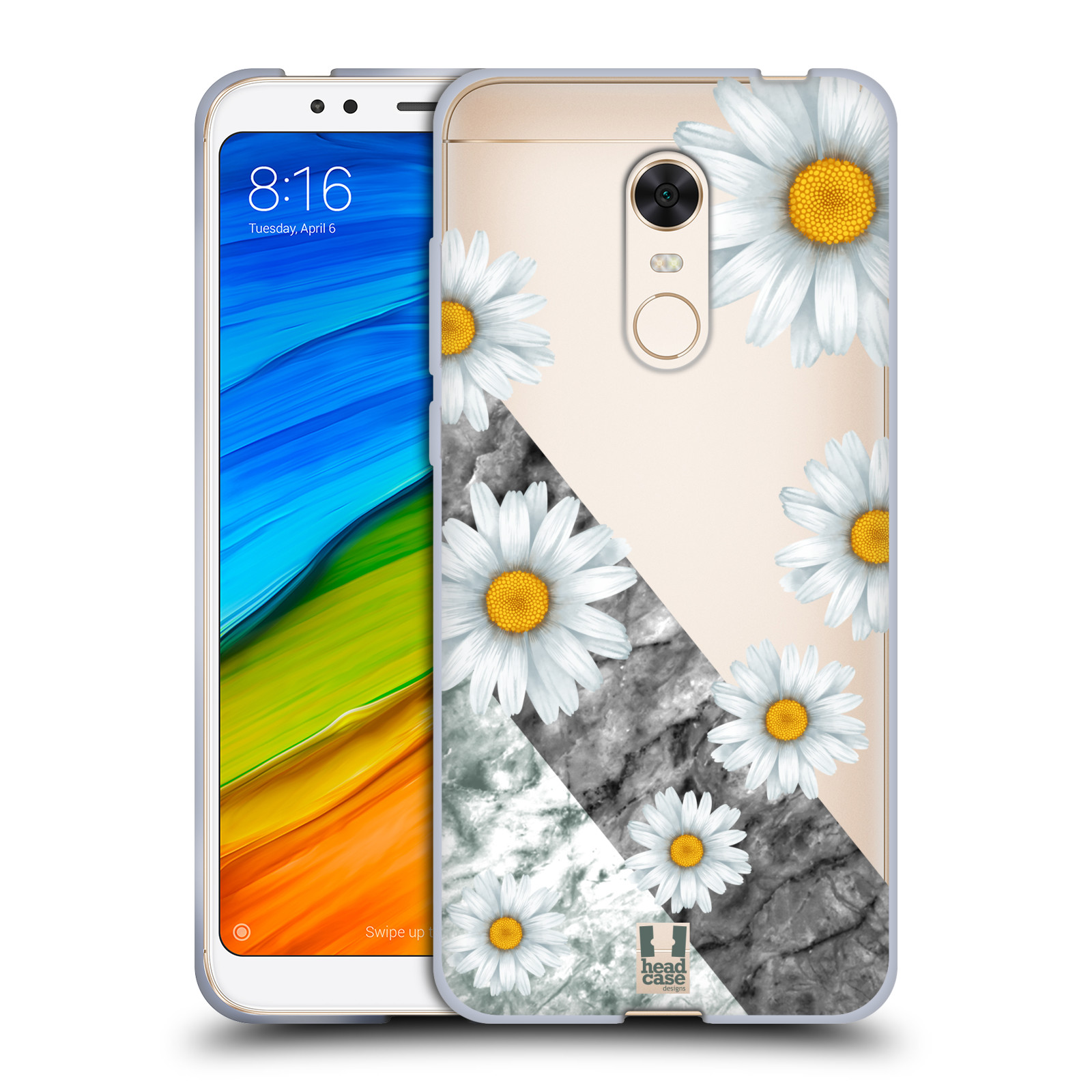 Silikonové pouzdro na mobil Xiaomi Redmi 5 Plus - Head Case - Kopretiny a mramor
