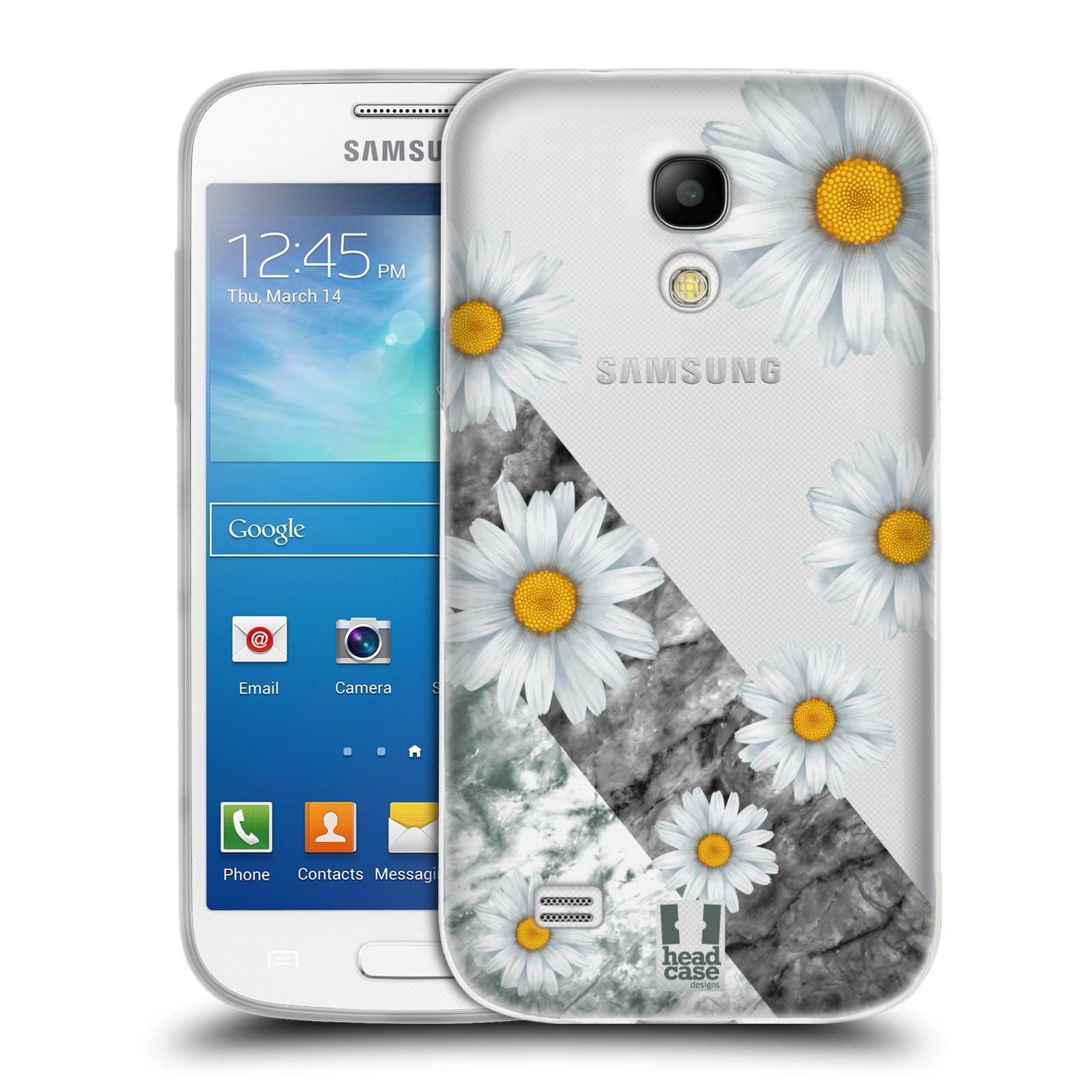 Silikonové pouzdro na mobil Samsung Galaxy S4 Mini - Head Case - Kopretiny a mramor