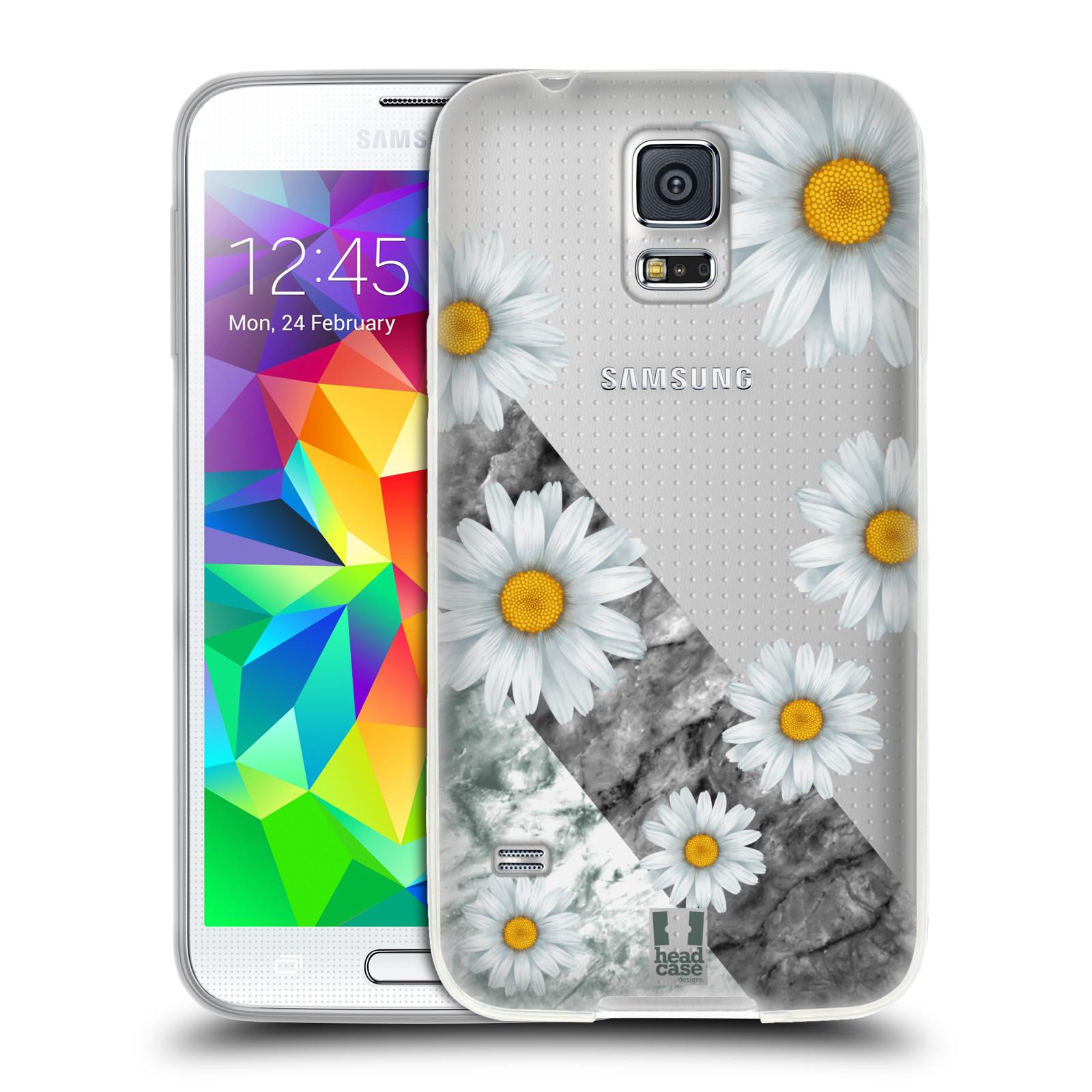 Silikonové pouzdro na mobil Samsung Galaxy S5 - Head Case - Kopretiny a mramor