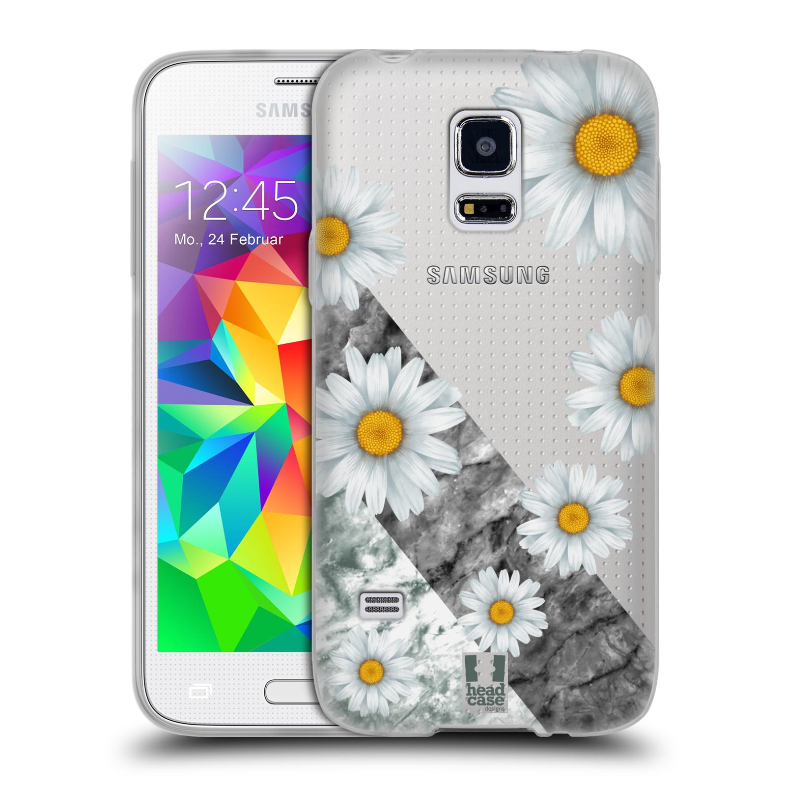 Silikonové pouzdro na mobil Samsung Galaxy S5 Mini - Head Case - Kopretiny a mramor