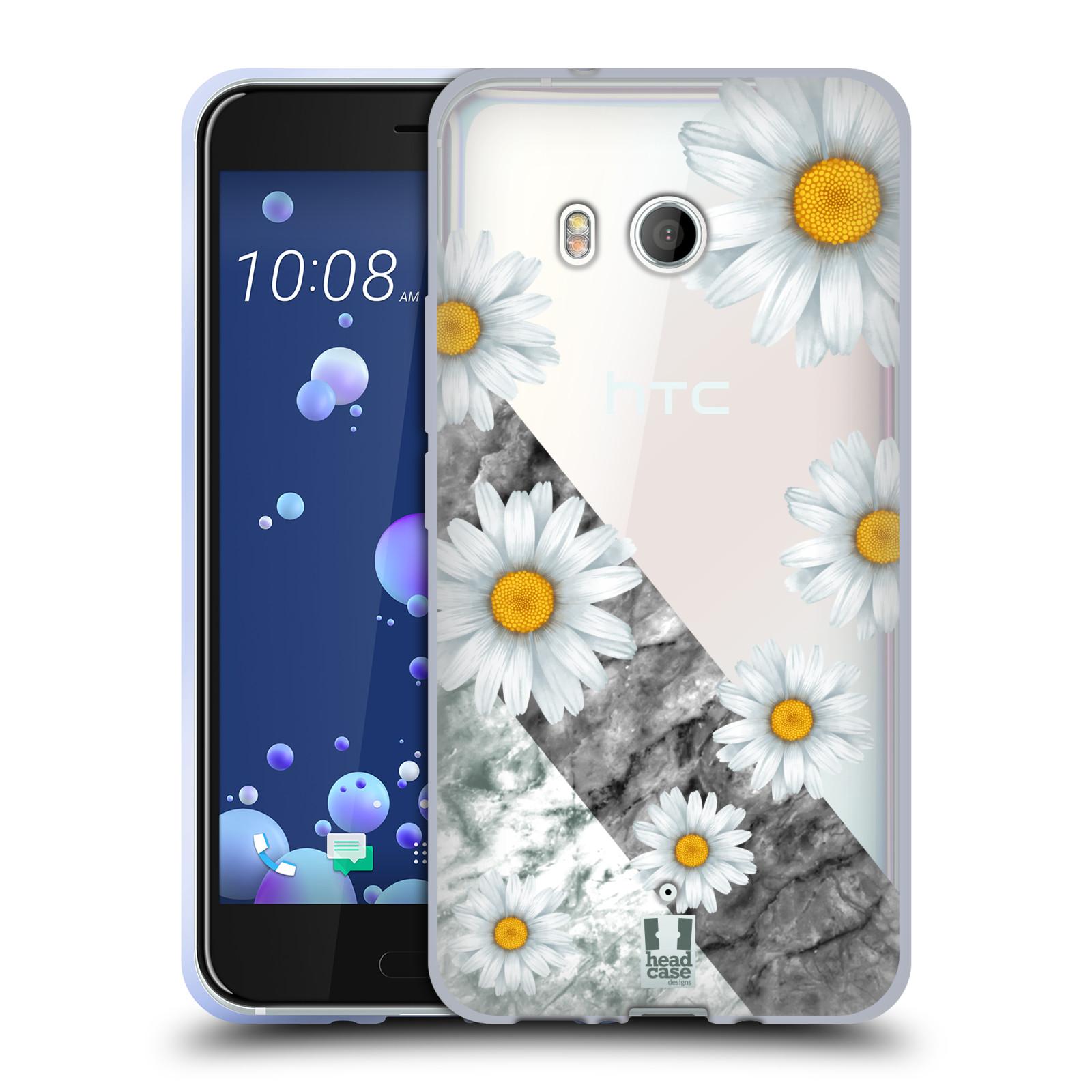Silikonové pouzdro na mobil HTC U11 - Head Case - Kopretiny a mramor