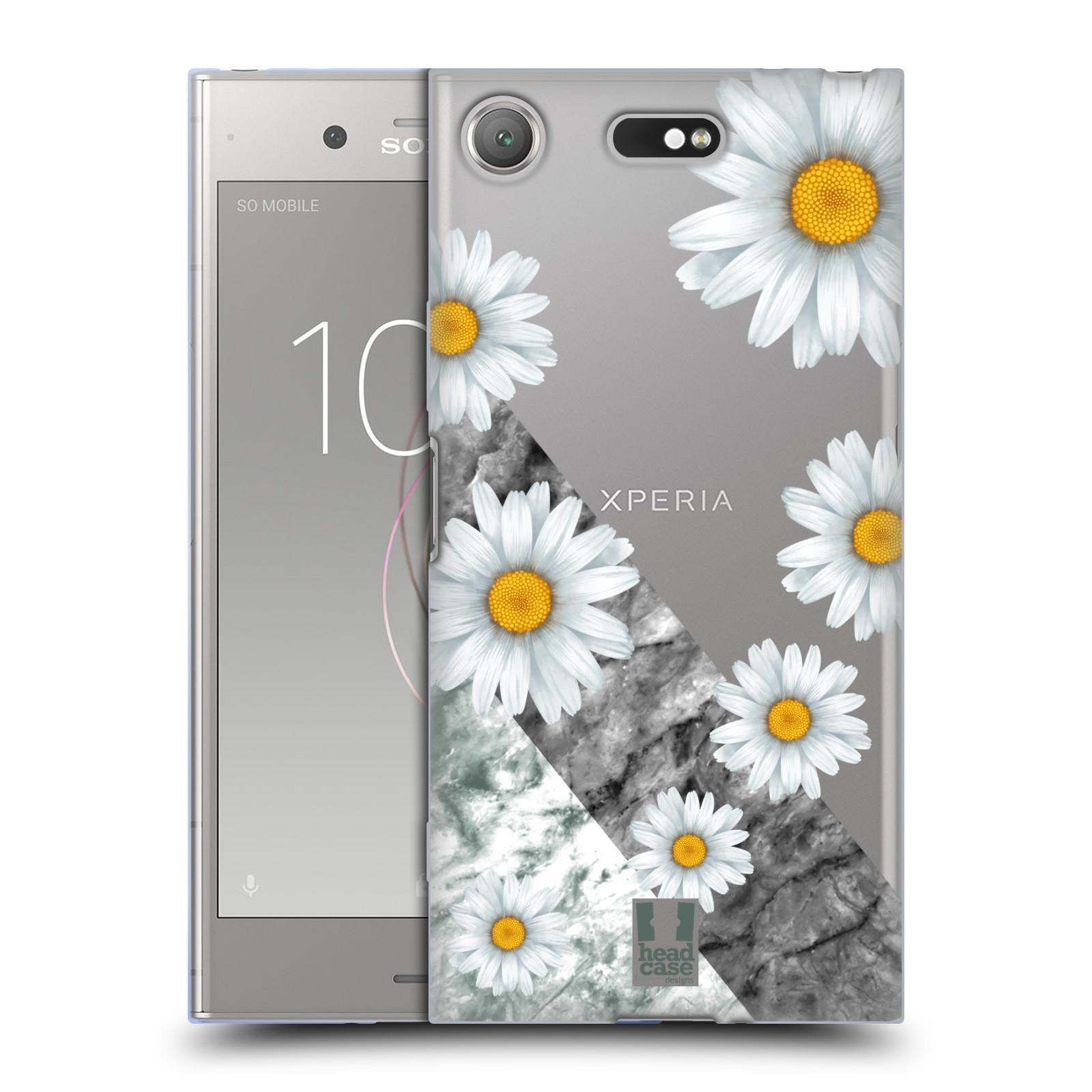 Silikonové pouzdro na mobil Sony Xperia XZ1 Compact - Head Case - Kopretiny a mramor