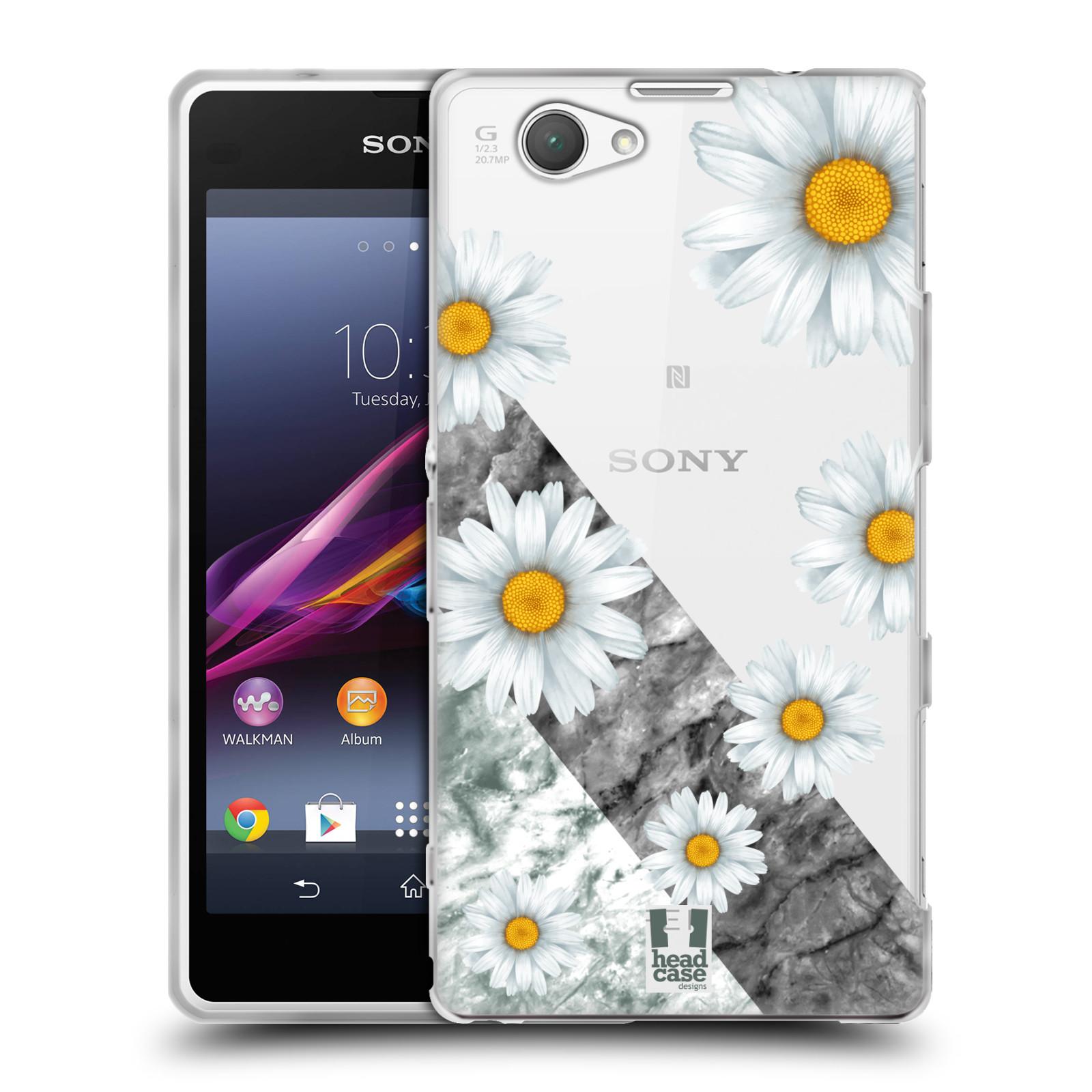 Silikonové pouzdro na mobil Sony Xperia Z1 Compact D5503 - Head Case - Kopretiny a mramor
