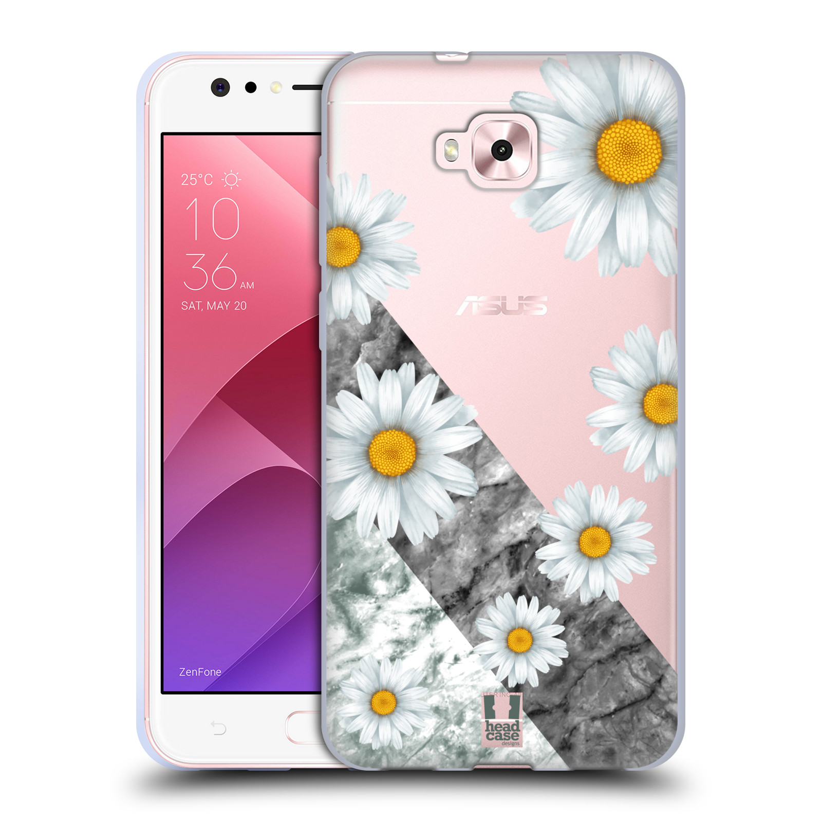 Silikonové pouzdro na mobil Asus Zenfone 4 Selfie ZD553KL - Head Case - Kopretiny a mramor