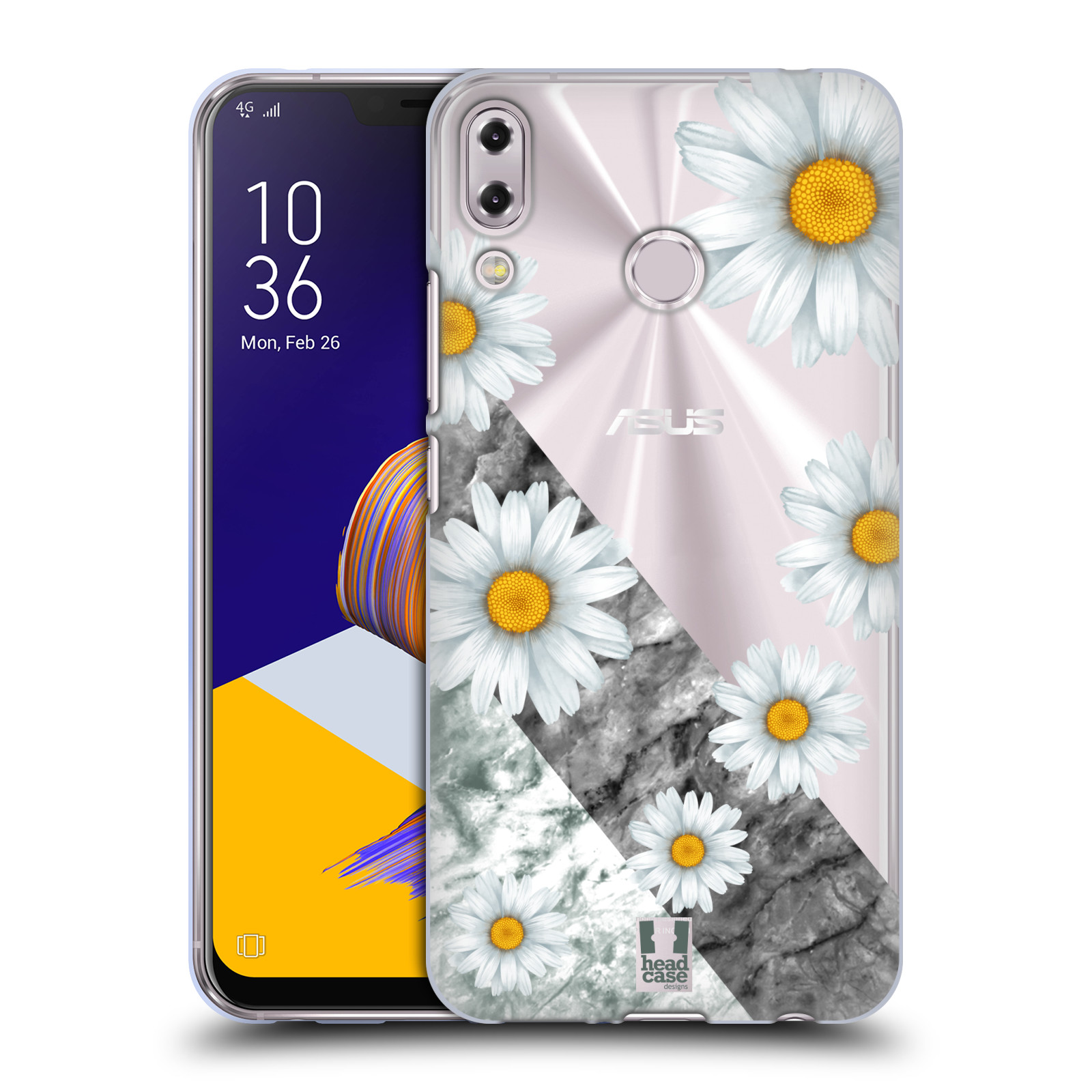 Silikonové pouzdro na mobil Asus Zenfone 5z ZS620KL - Head Case - Kopretiny a mramor