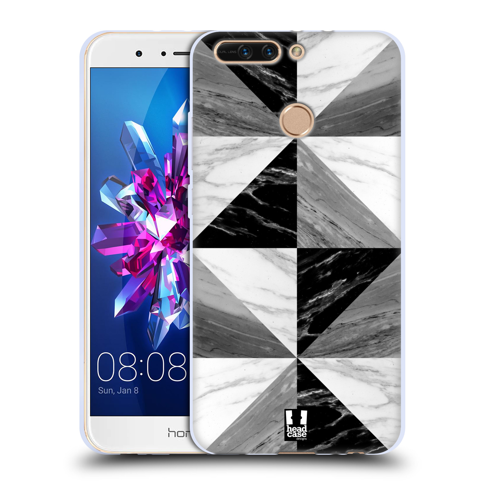 Silikonové pouzdro na mobil Honor 8 Pro - Head Case - Mramor triangl