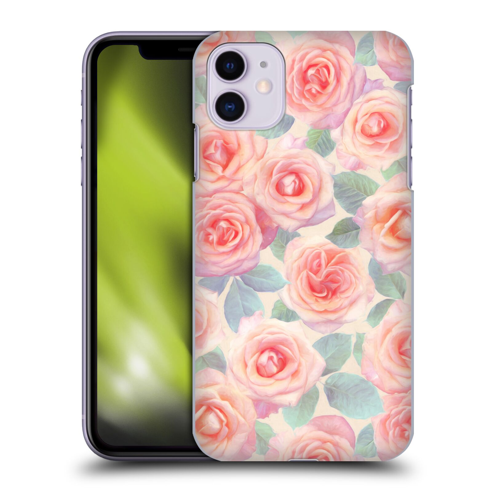 Official Micklyn Le Feuvre Florals 4 Pink & Peach Roses Case for Apple iPhone 11