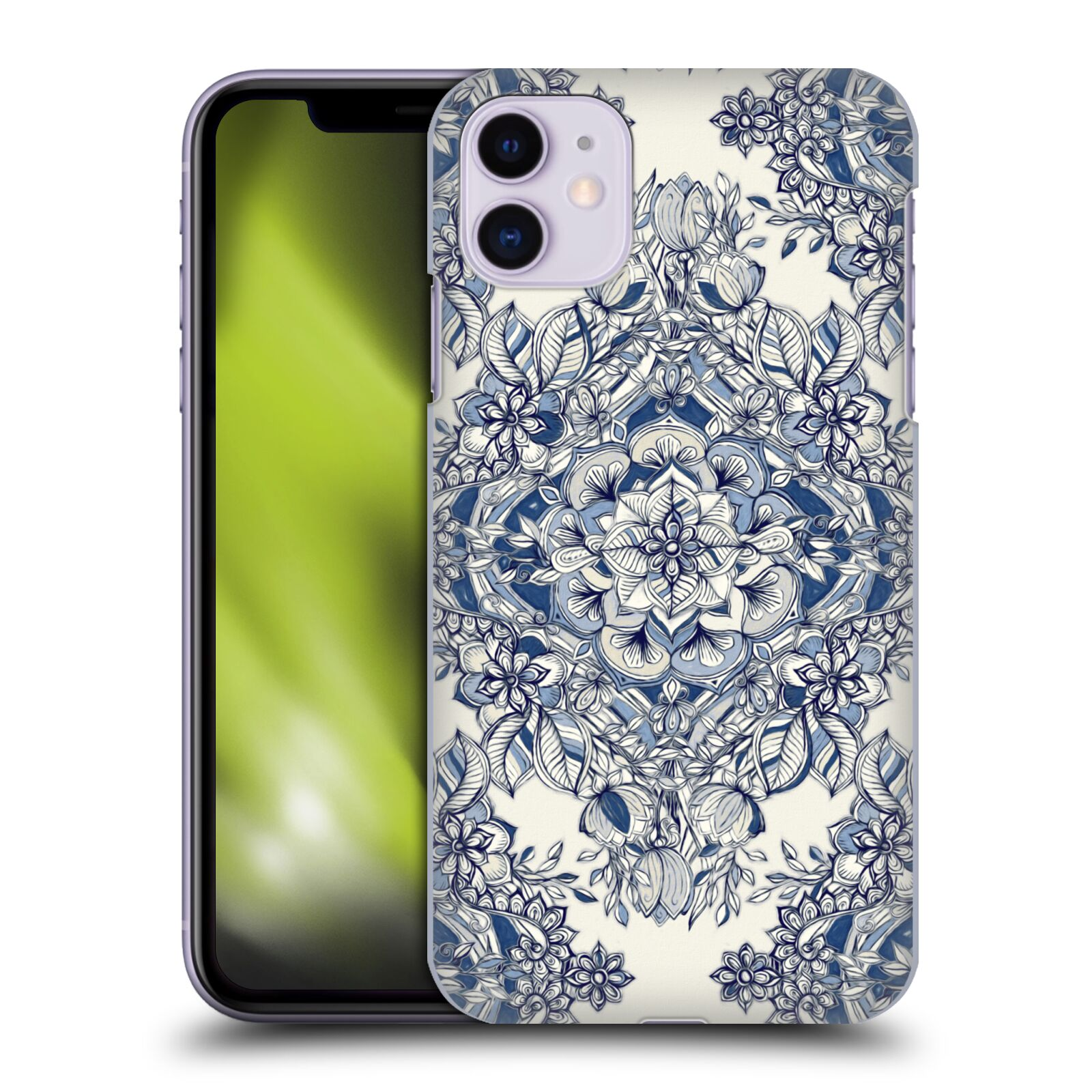 Official Micklyn Le Feuvre Floral Patterns Diamond Doodle In Navy Blue And Cream Case for Apple iPhone 11