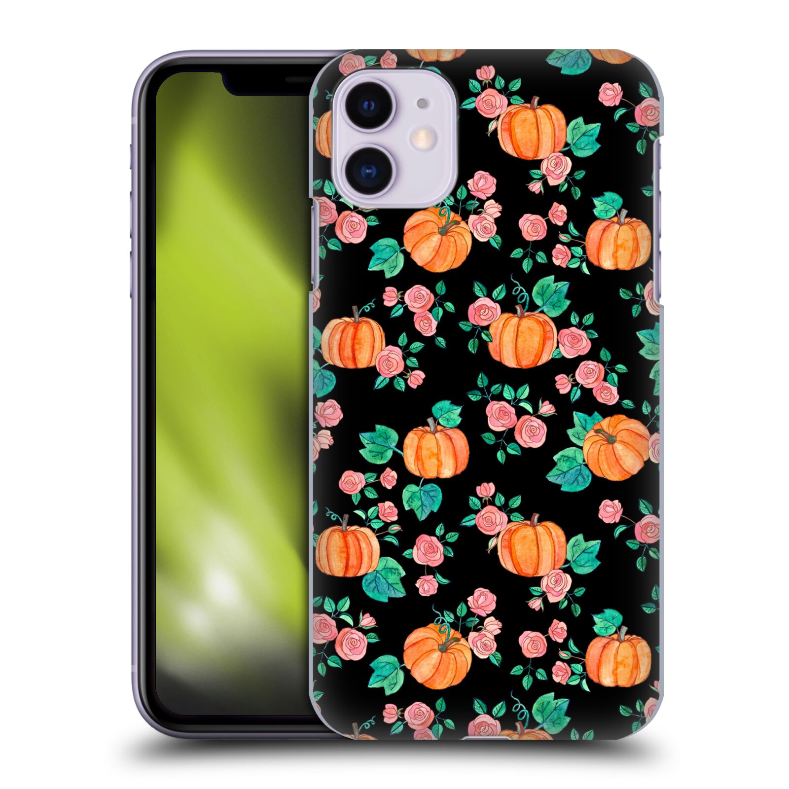 Official Micklyn Le Feuvre Floral Patterns 2 Pumpkins And Roses On Black Case for Apple iPhone 11