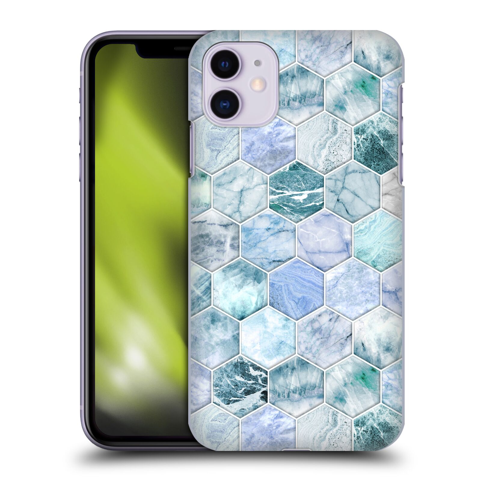 Official Micklyn Le Feuvre Marble Patterns Ice Blue And Jade Stone And Hexagon Tiles Case for Apple iPhone 11