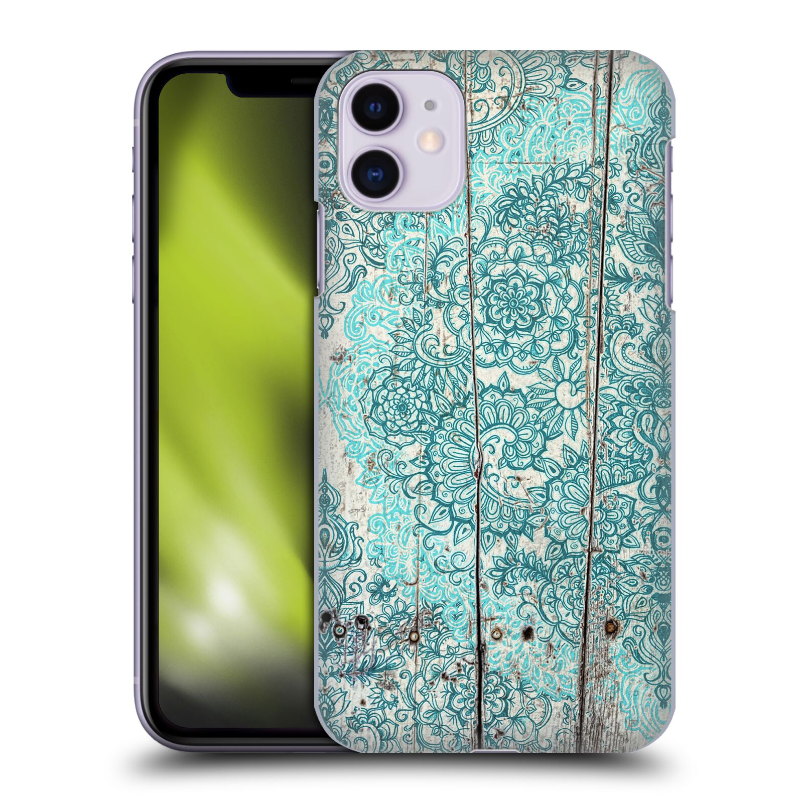 Official Micklyn Le Feuvre On Wood Teal And Aqua Botanical Doodle On Weathered Case for Apple iPhone 11