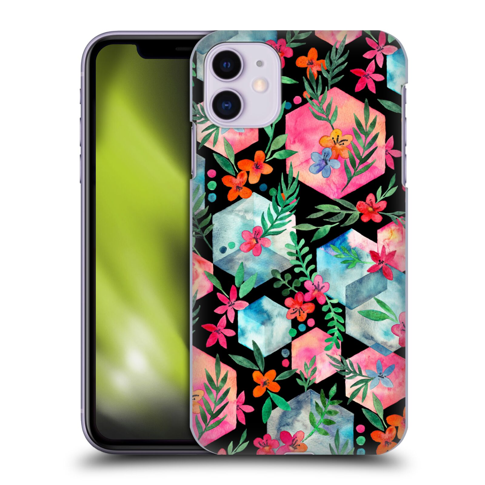 Official Micklyn Le Feuvre Patterns 6 Hexagon Garden On Black Case for Apple iPhone 11