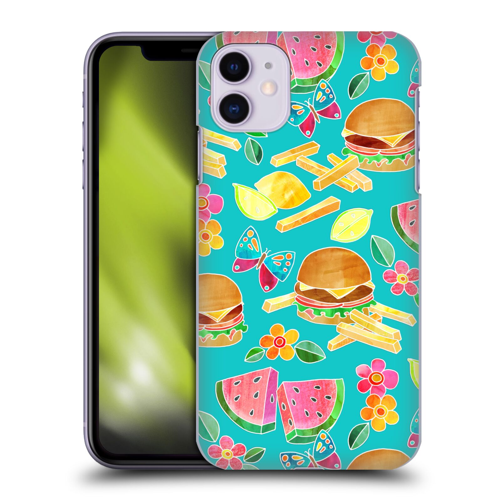 Official Micklyn Le Feuvre Patterns 8 Burger & Butterflies Collage Case for Apple iPhone 11