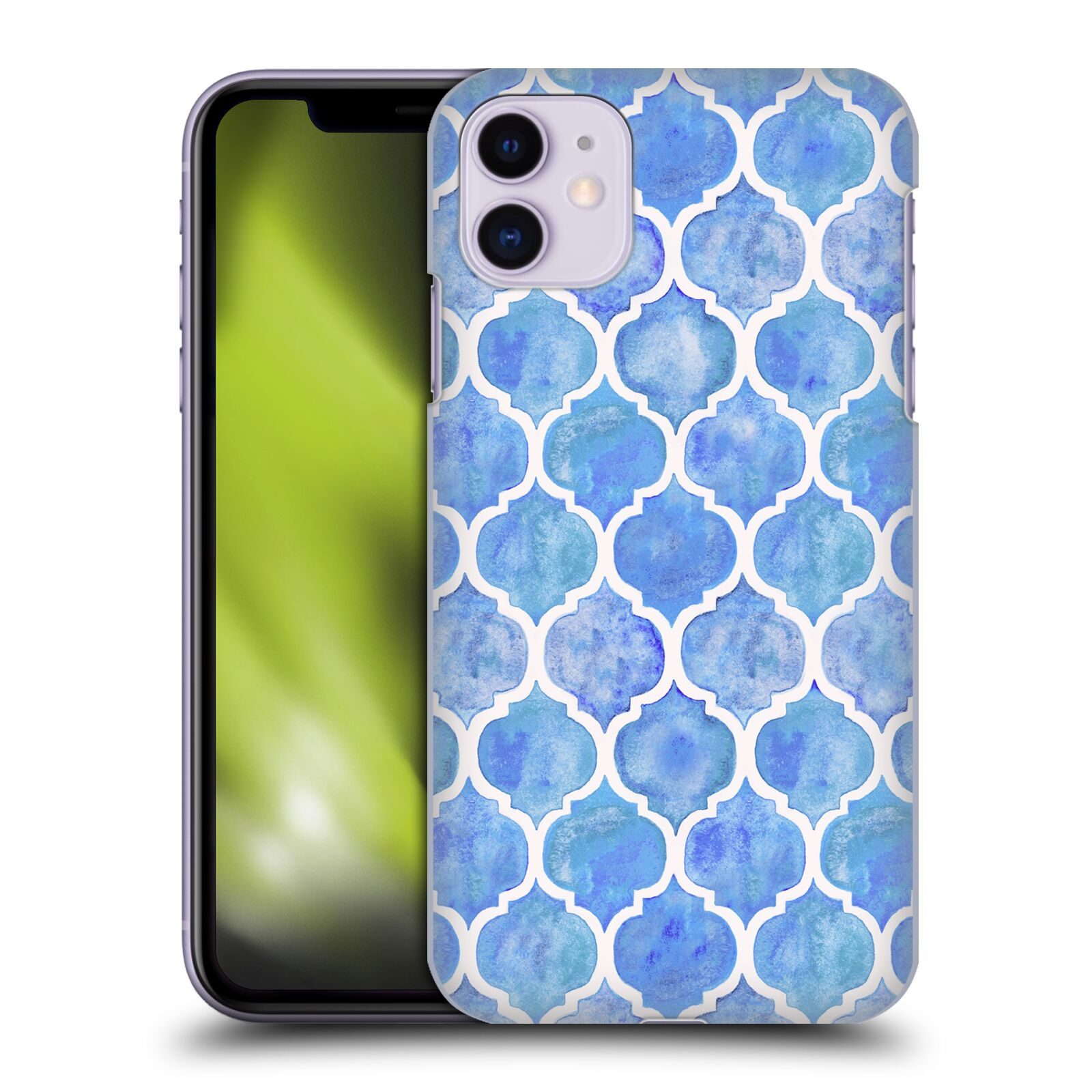 Official Micklyn Le Feuvre Quatrefoil 2 Cornflower Blue Moroccan Watercolour Pattern Case for Apple iPhone 11