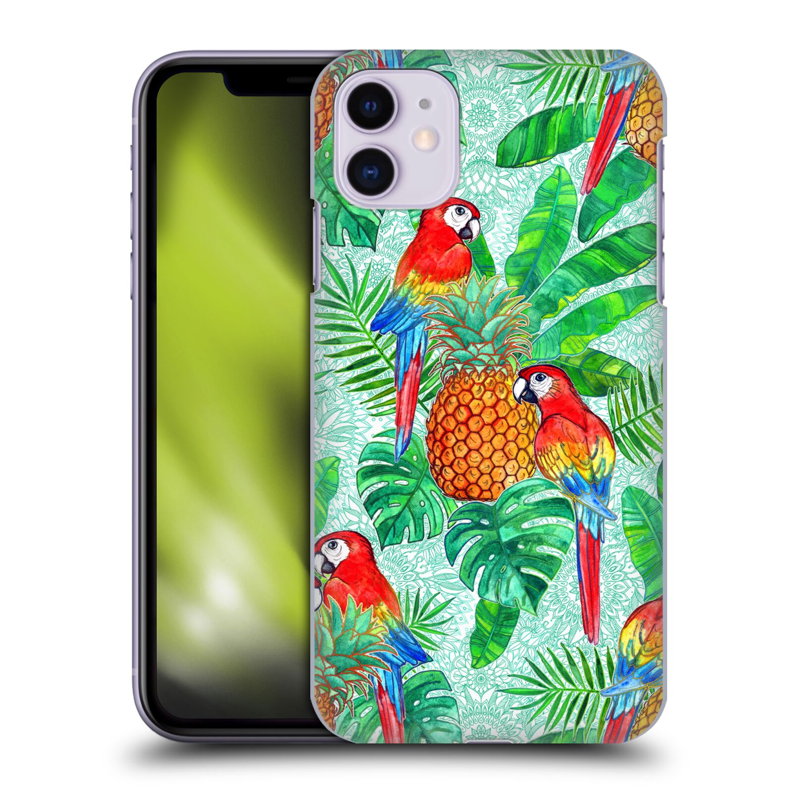Official Micklyn Le Feuvre Summer Patterns Pineapples And Parrots Tropical Summer Case for Apple iPhone 11