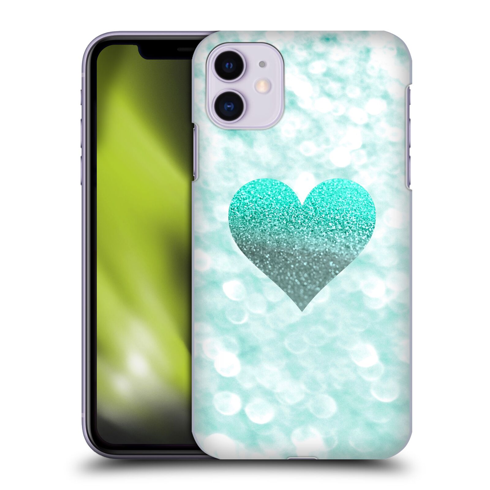 Official Monika Strigel Champagne Glitters 2 Heart Mint Case for Apple iPhone 11