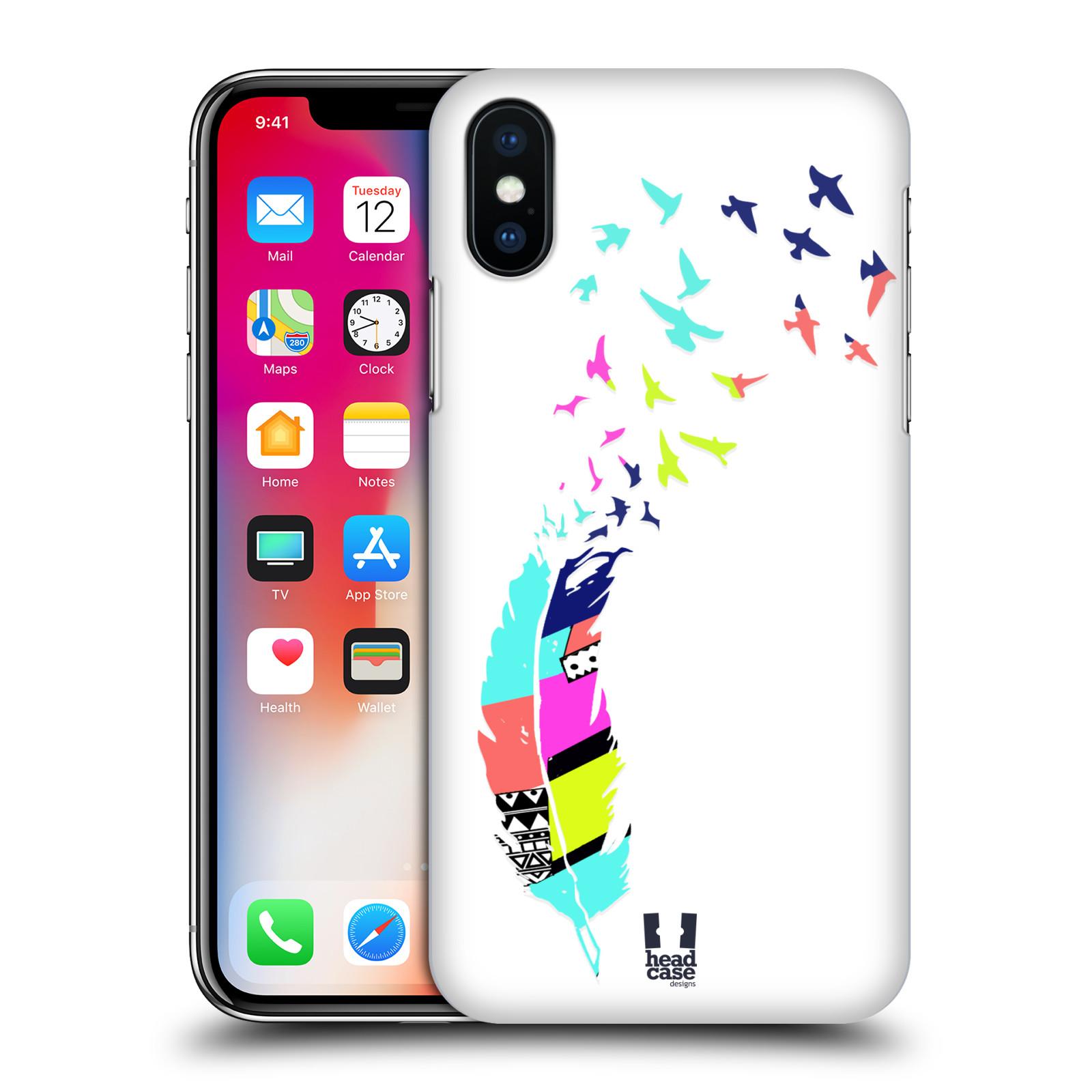 HEAD-CASE-DESIGNS-PLUMES-AU-NEON-ETUI-COQUE-D-039-ARRIERE-RIGIDE-POUR-APPLE-iPHONE-X