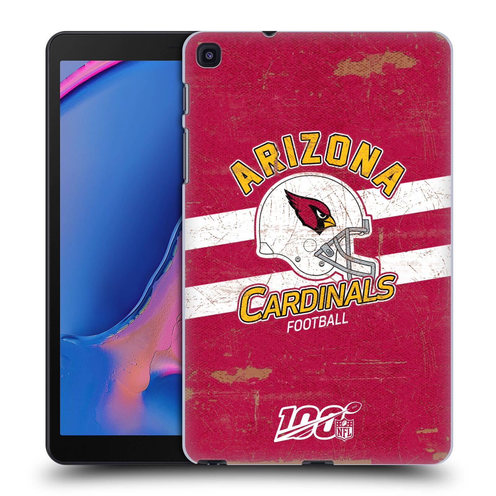 Official NFL 2019/20 Arizona Cardinals Helmet Distressed Look 100th Case for Samsung Galaxy Tab A 8.0 & S Pen 2019