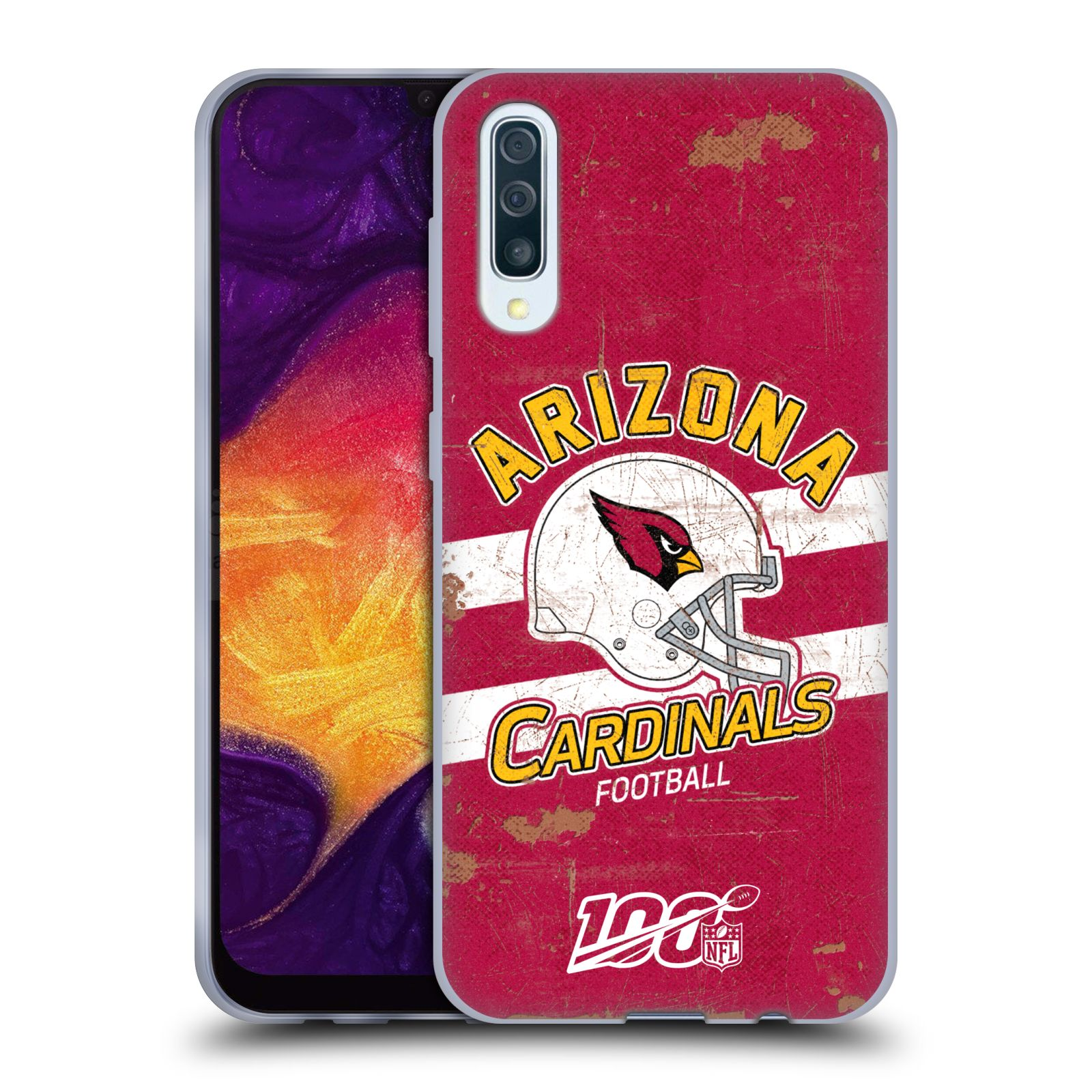 Official NFL 2019/20 Arizona Cardinals Helmet Distressed Look 100th Gel Case for Samsung Galaxy A50/A30s (2019)