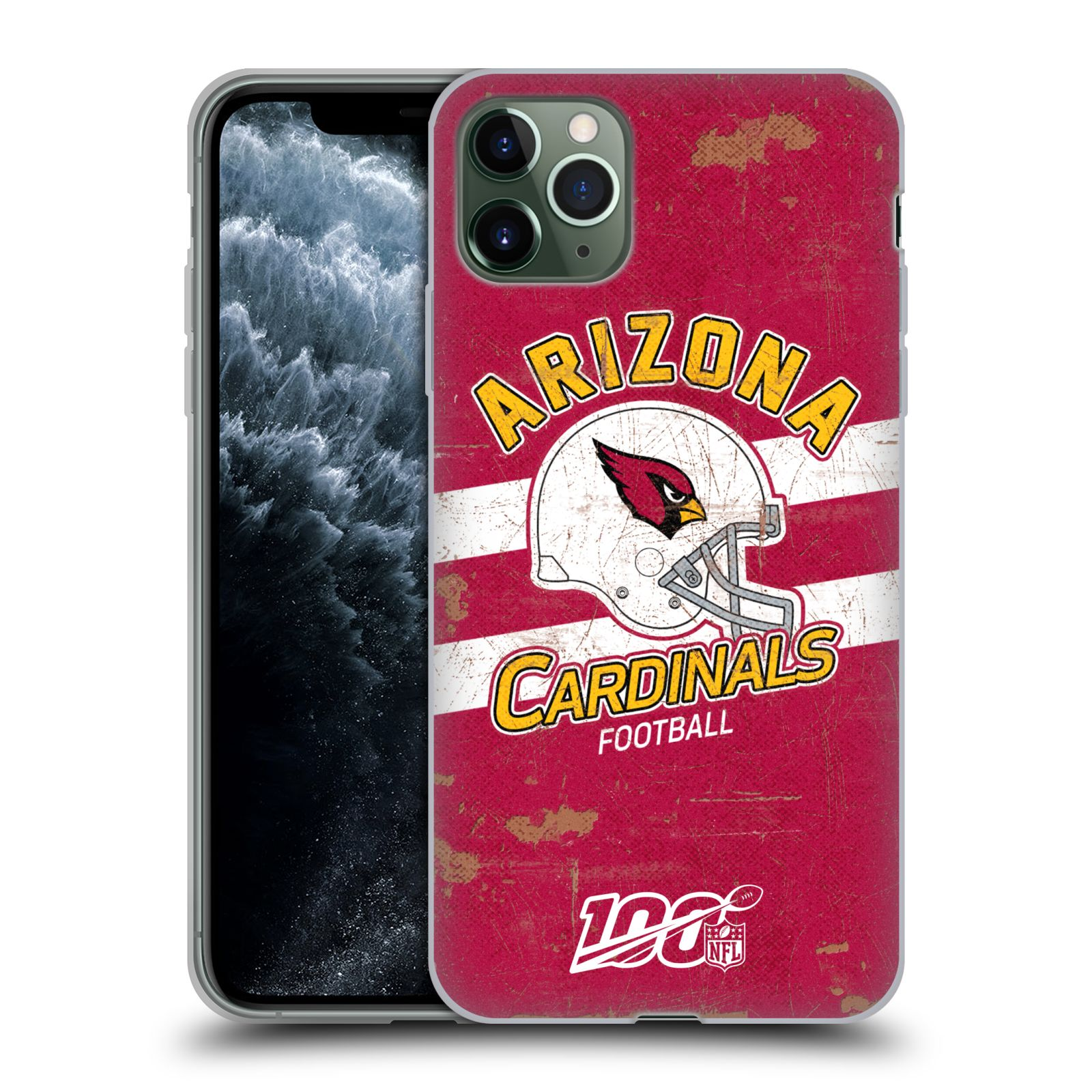 Official NFL 2019/20 Arizona Cardinals Helmet Distressed Look 100th Gel Case for Apple iPhone 11 Pro Max