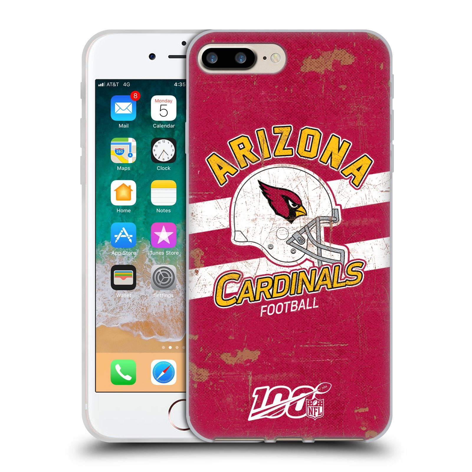 Official NFL 2019/20 Arizona Cardinals Helmet Distressed Look 100th Gel Case for Apple iPhone 7 Plus / iPhone 8 Plus
