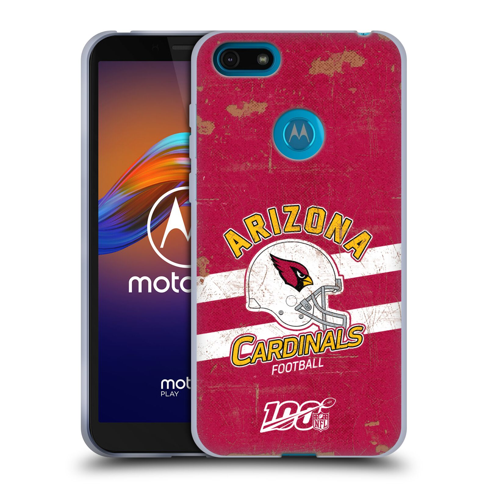 Official NFL 2019/20 Arizona Cardinals Helmet Distressed Look 100th Gel Case for Motorola Moto E6 Play