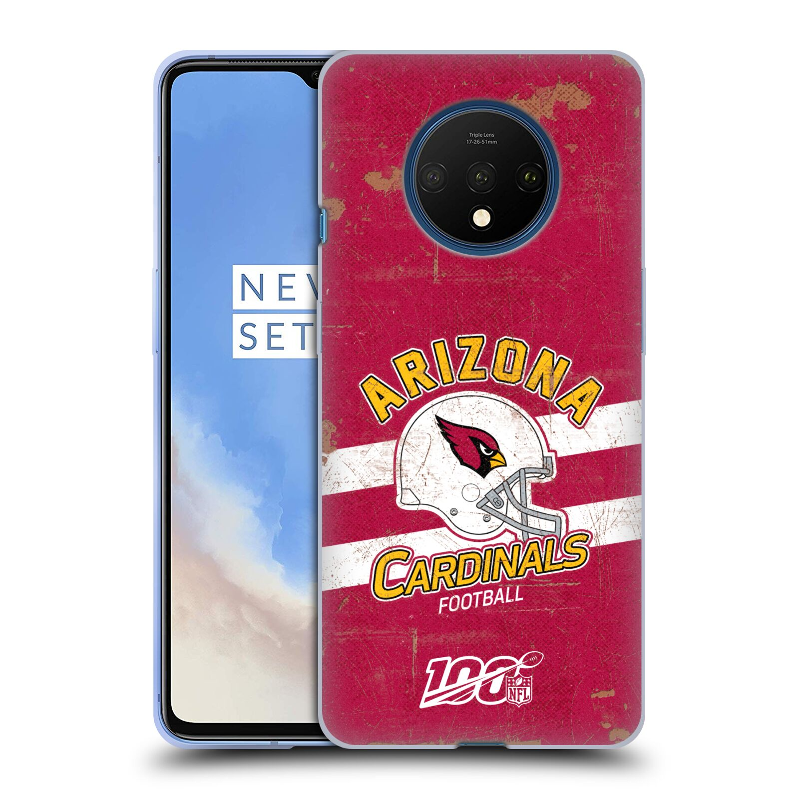 Official NFL 2019/20 Arizona Cardinals Helmet Distressed Look 100th Gel Case for OnePlus 7T